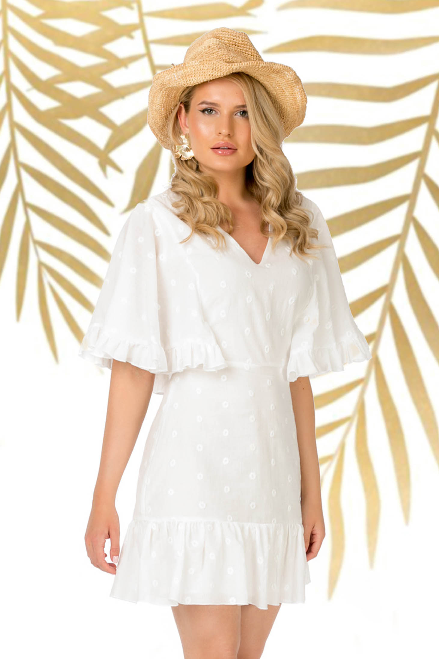 Dress white daily short cut a-line with butterfly sleeves with ruffles at the buttom of the dress cotton