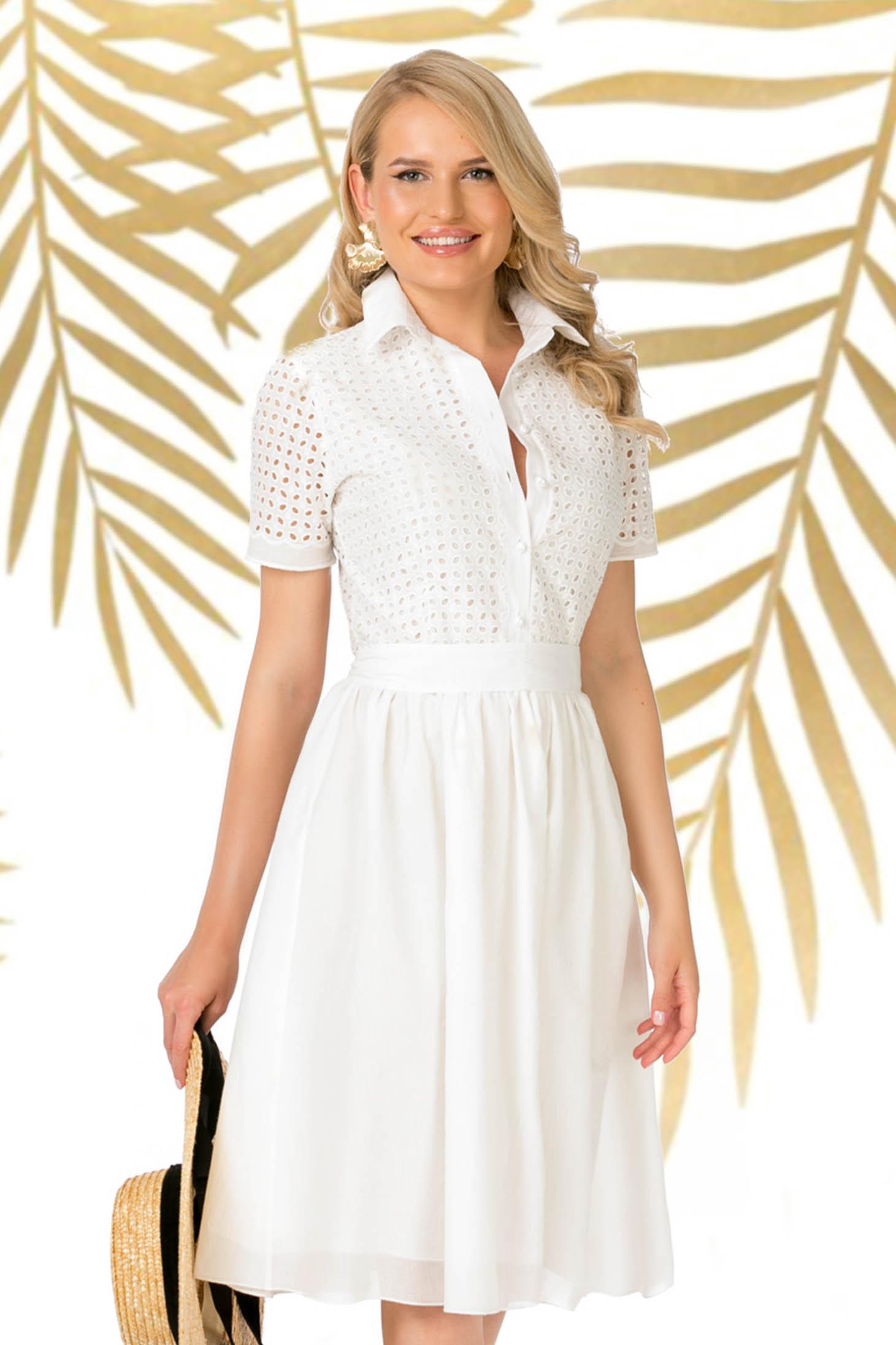 Dress white daily midi cloche with v-neckline nonelastic cotton