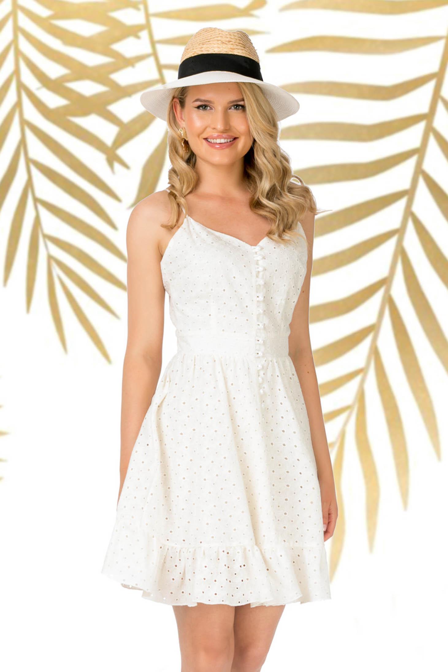 Rochie PrettyGirl alba de zi in clos cu bretele din bumbac neelastic cu volanase la baza rochiei