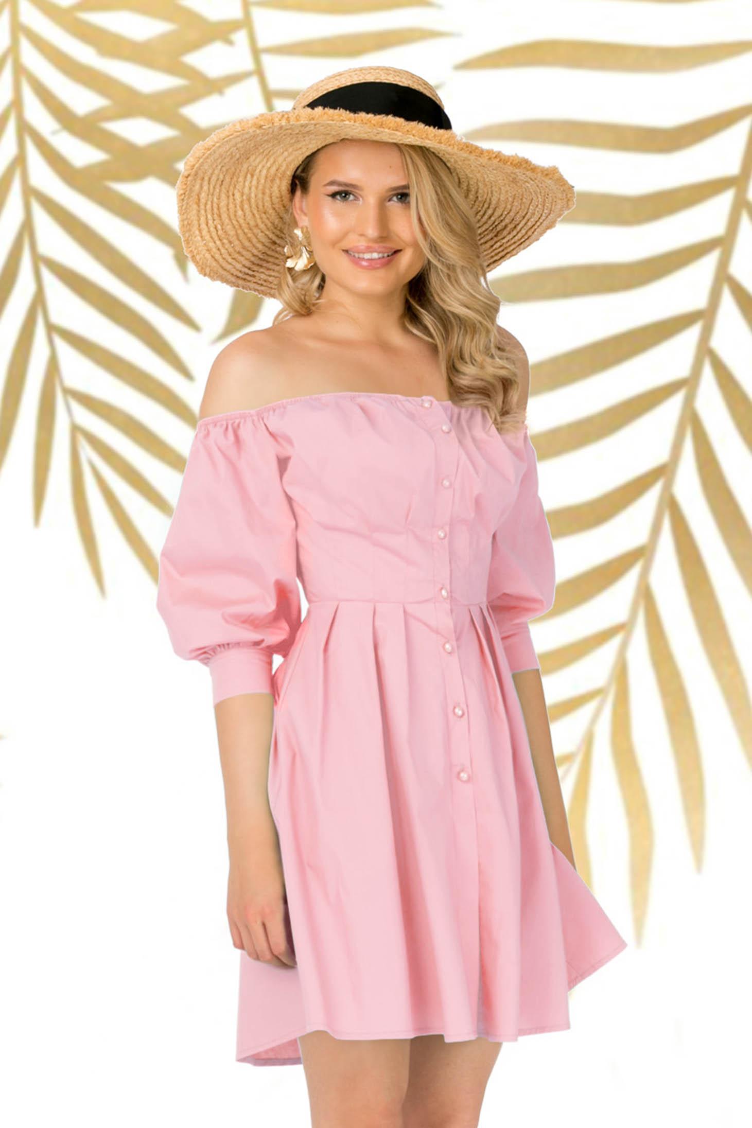 Púder rózsaszínű hétköznapi asszimmetrikus harang ruha enyhén elasztikus pamut