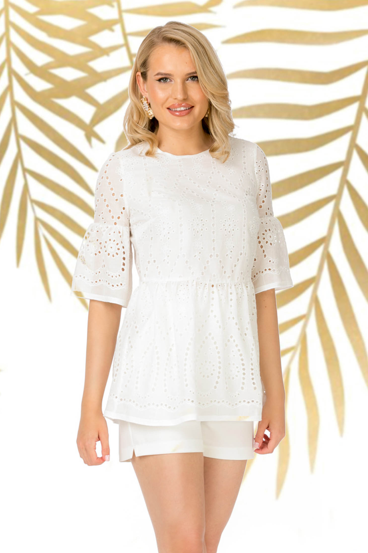 Casual white women`s blouse with bell sleeve with frilled waist cotton