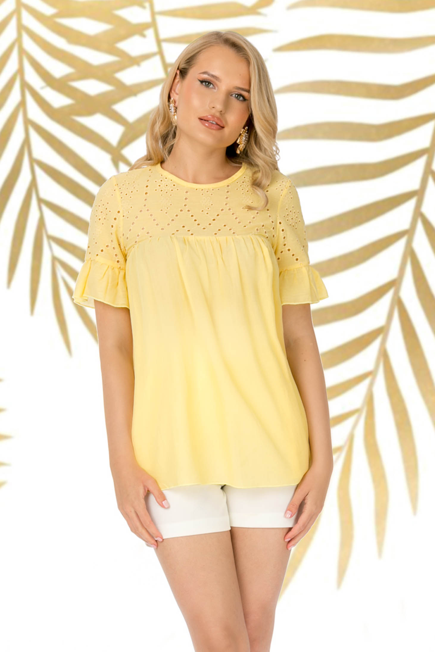 Yellow women`s blouse casual flared cotton