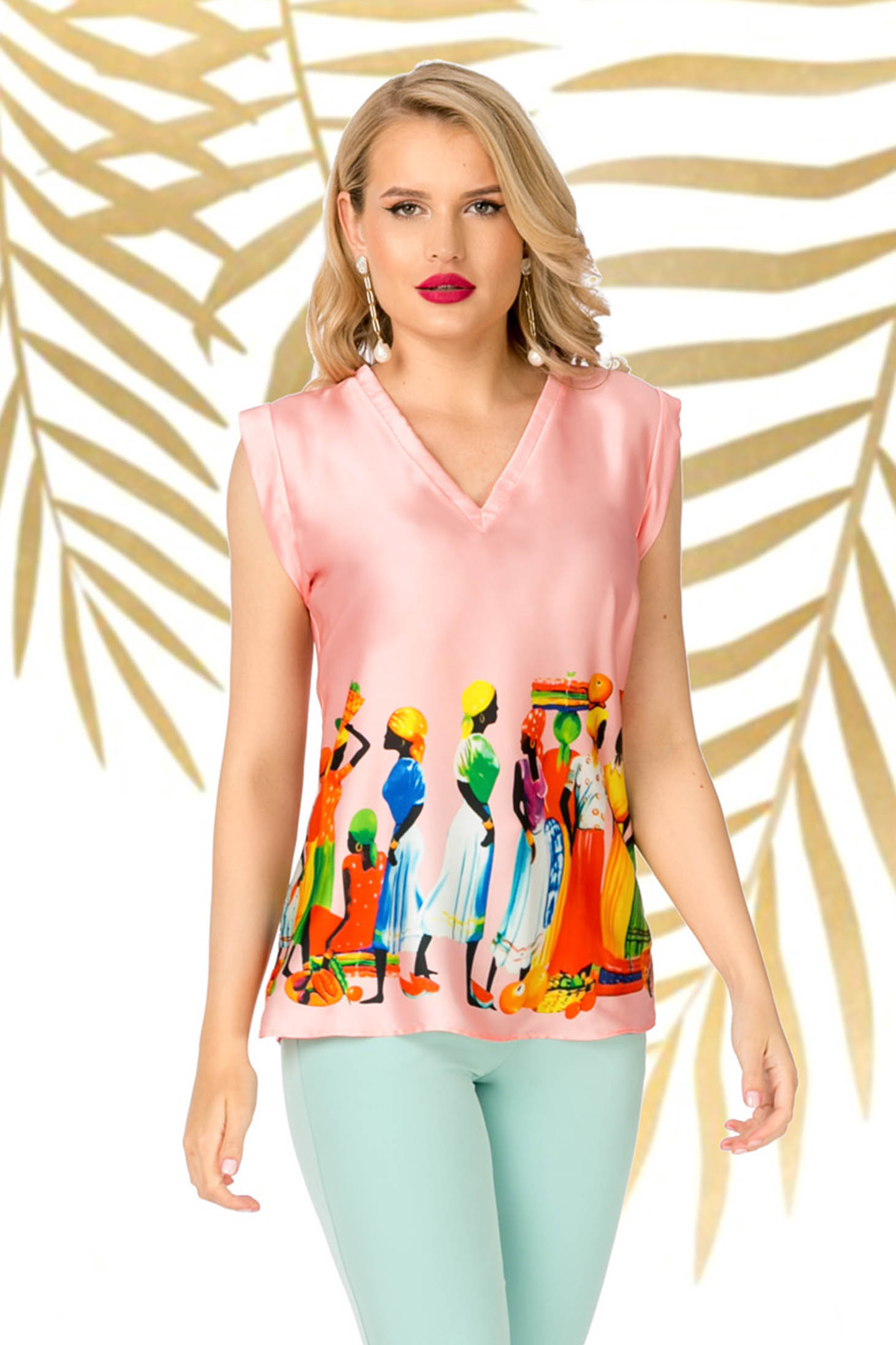 Pink casual flared women`s blouse from shiny fabric with v-neckline
