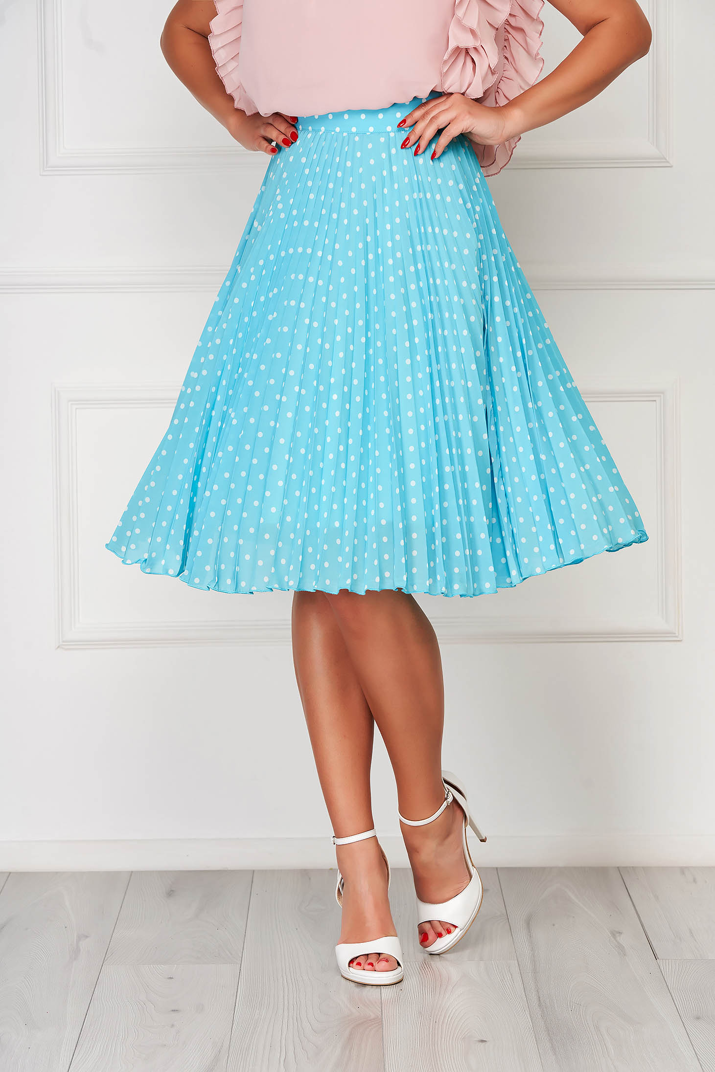 Turquoise skirt elegant cloche high waisted from veil fabric dots print folded up