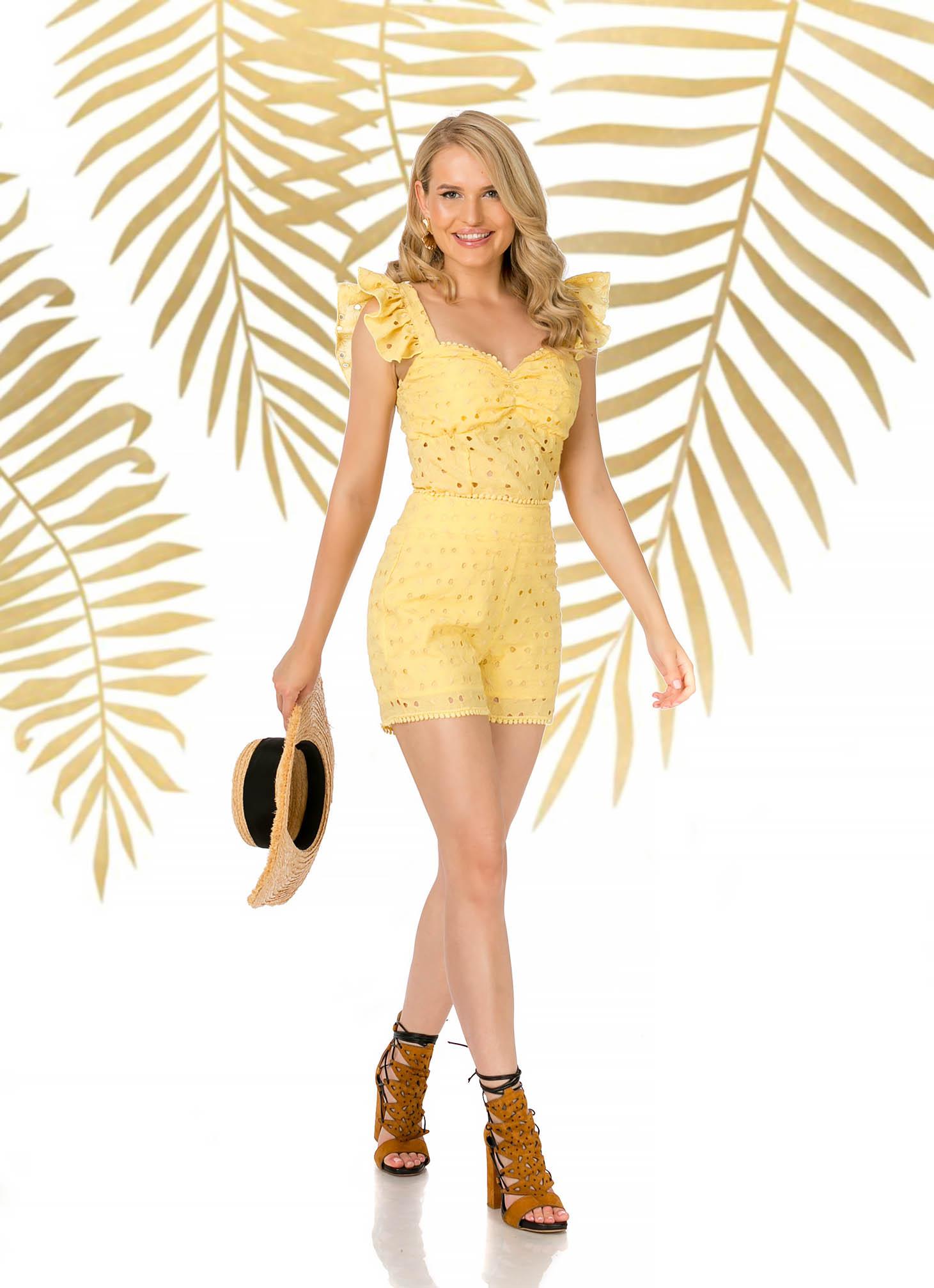 Sárga casual szűk szabású magas derekú rövidnadrág rugalmatlan pamutból