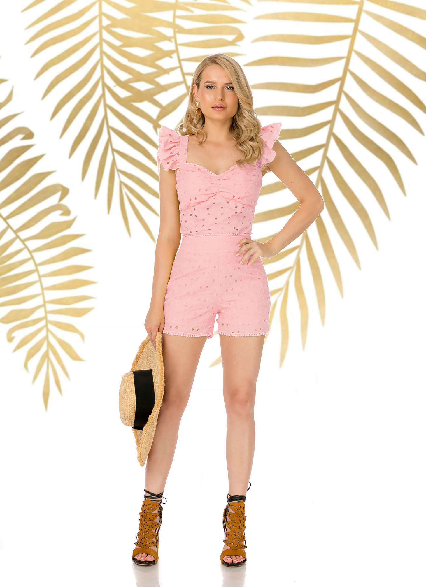Lightpink short casual tented high waisted nonelastic cotton