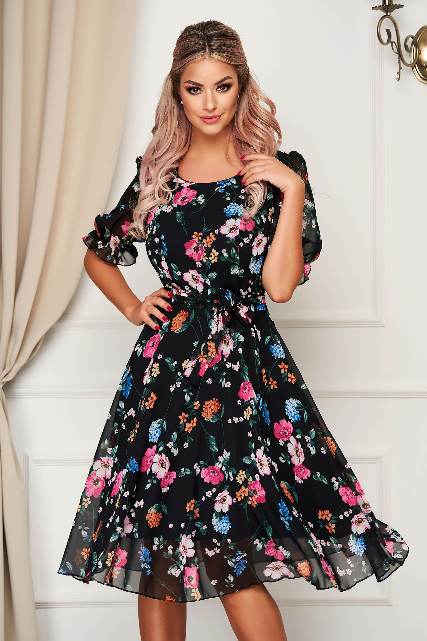 Black dress elegant midi cloche voile fabric with floral prints