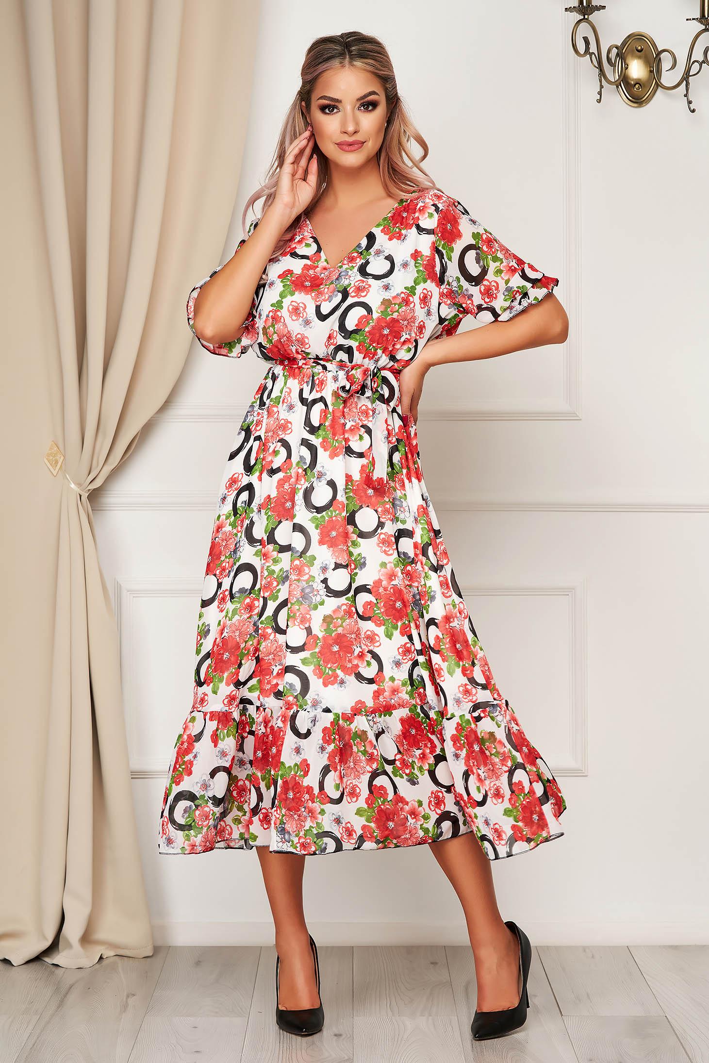 Rochie rosie de zi din voal clos cu elastic in talie cu volanase la baza rochiei