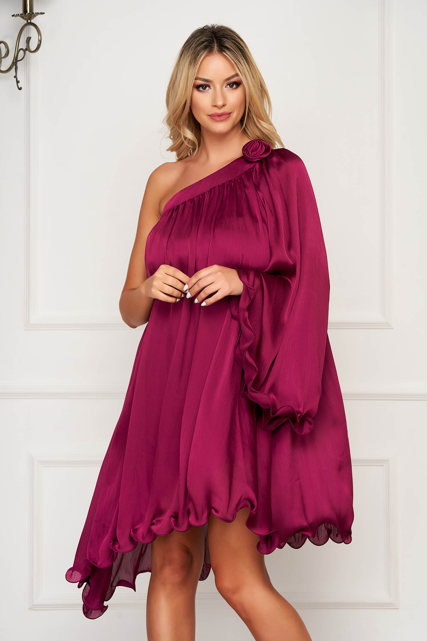 Dress fuchsia occasional asymmetrical flared from satin fabric texture