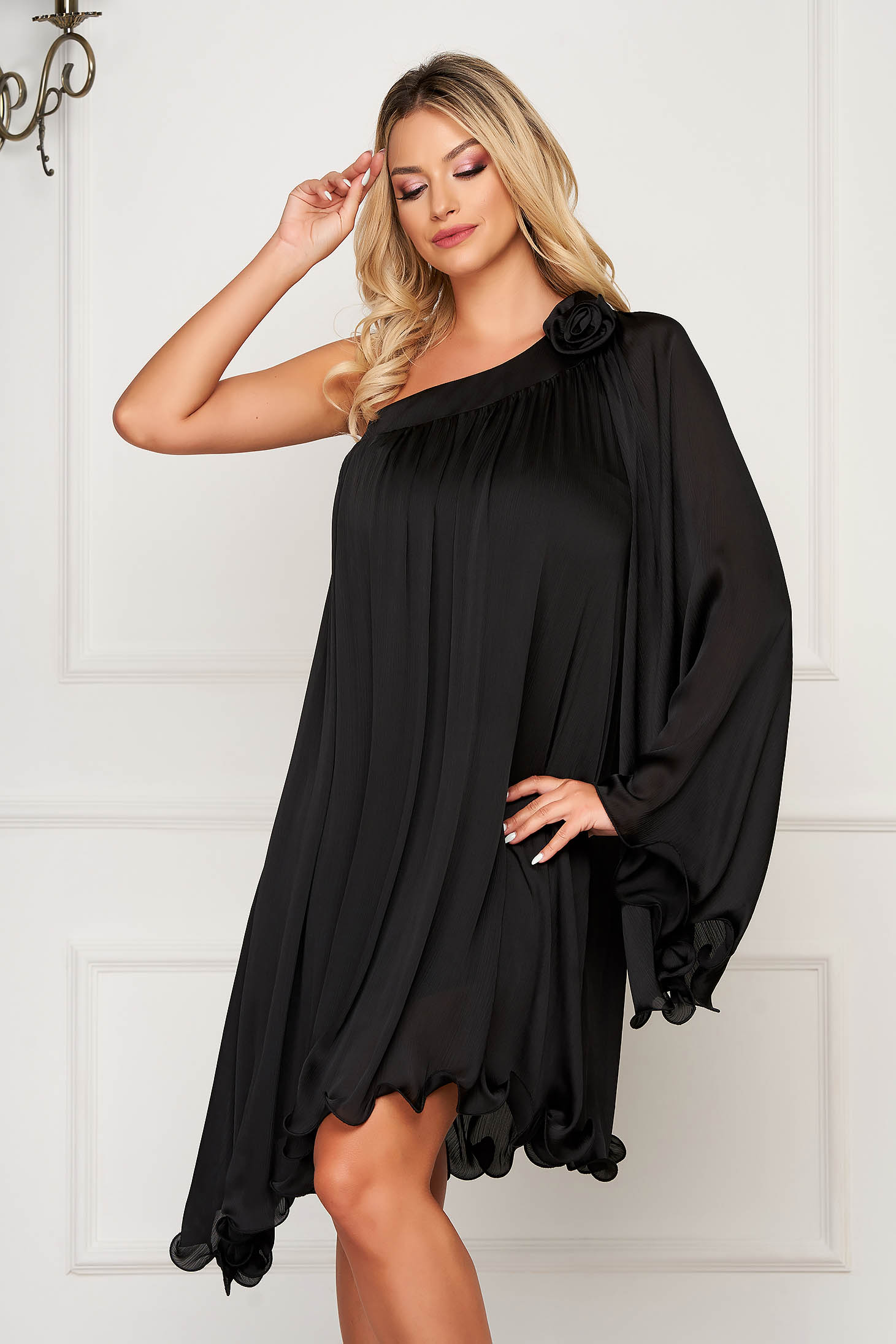 Dress black occasional asymmetrical flared from satin fabric texture