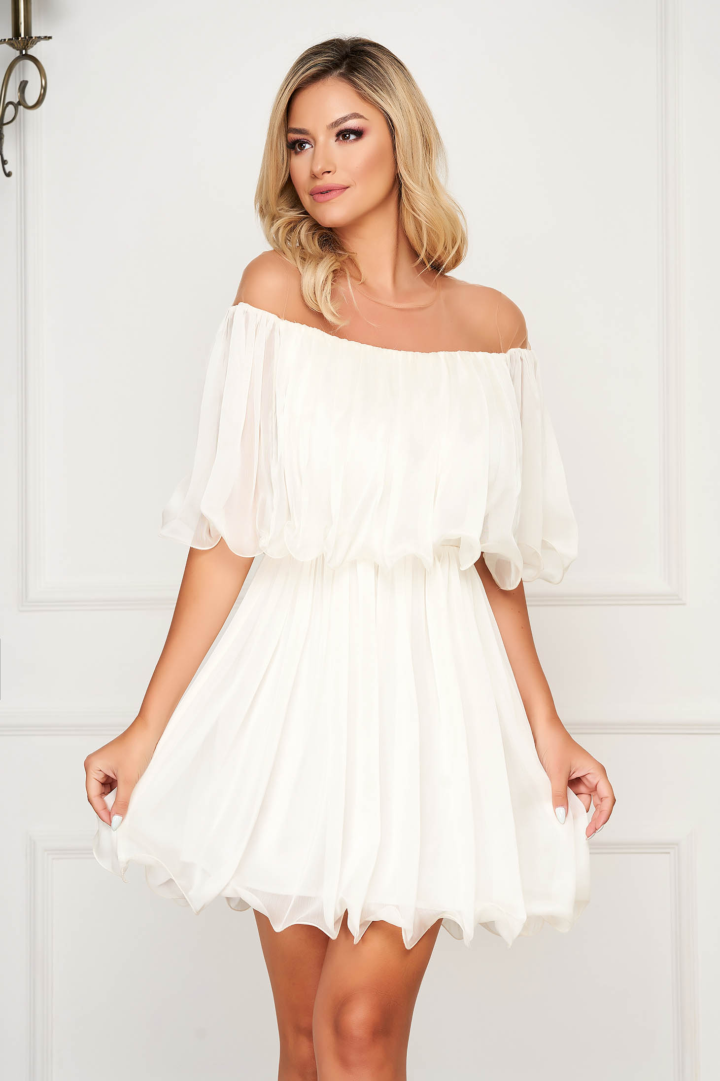 White dress short cut cloche off-shoulder occasional thin fabric
