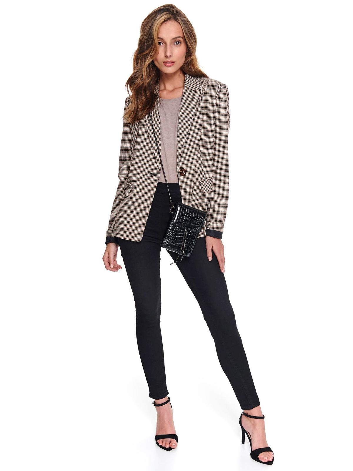 Peach women`s blouse casual long sleeved flared
