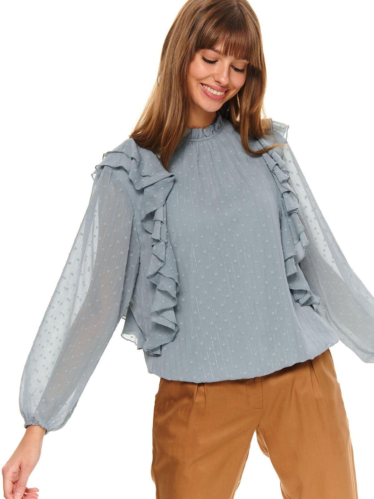 Bluza dama Top Secret verde casual cu croi larg cu guler cu volanase din material usor transparent