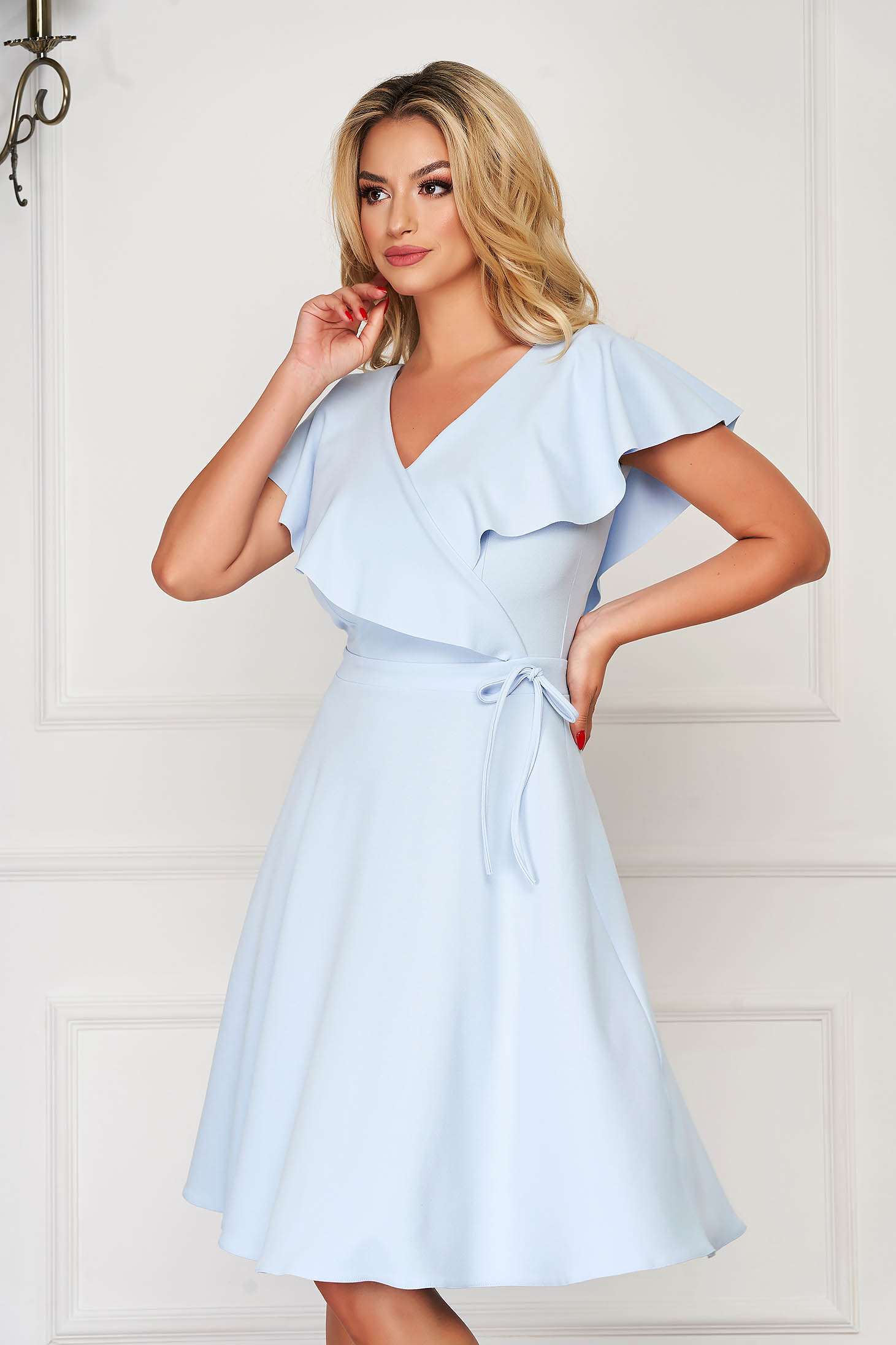 StarShinerS lightblue dress daily short cut cloche scuba with v-neckline without clothing frilly trim around cleavage line