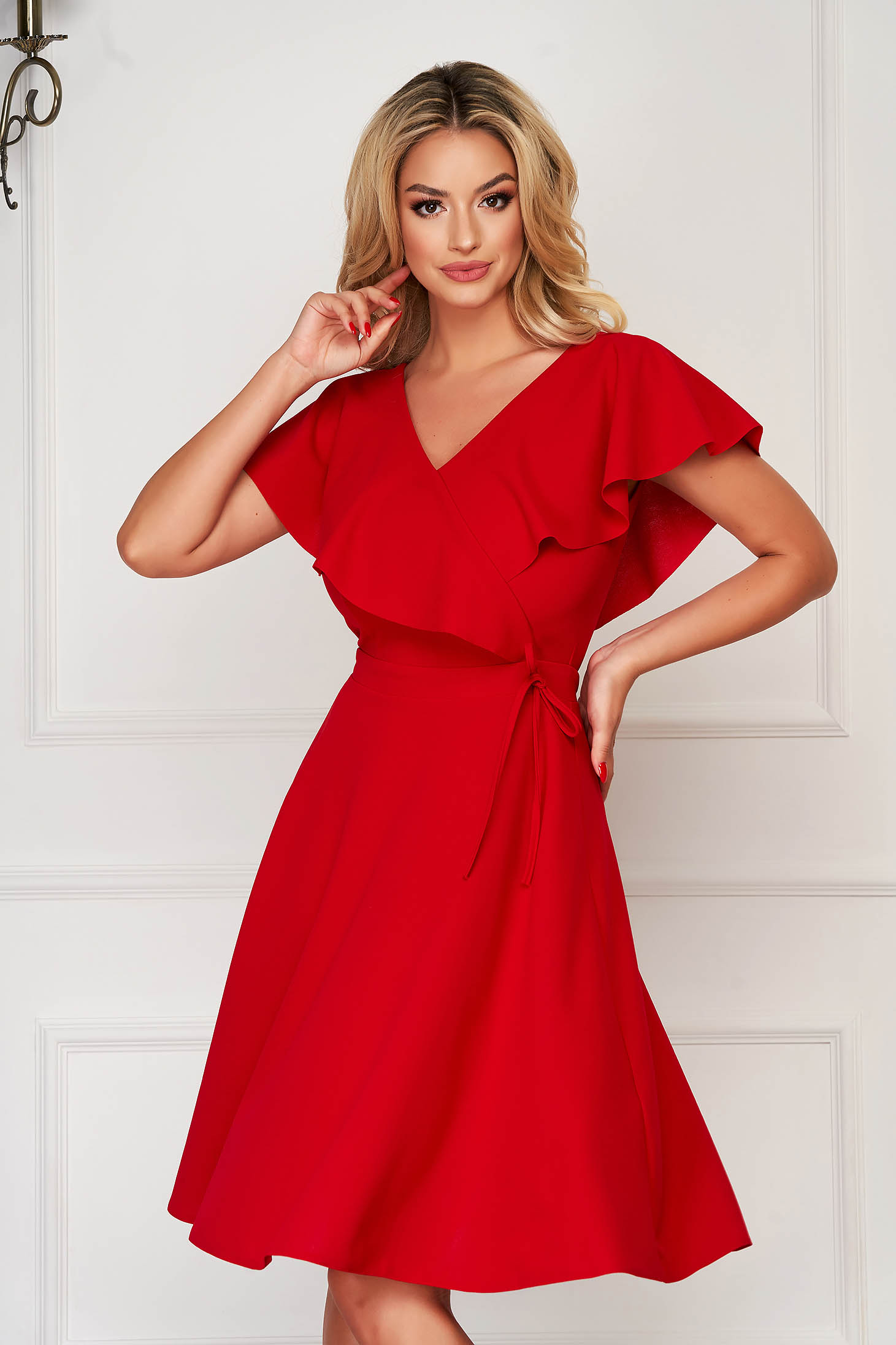 StarShinerS red dress daily short cut cloche scuba with v-neckline without clothing frilly trim around cleavage line