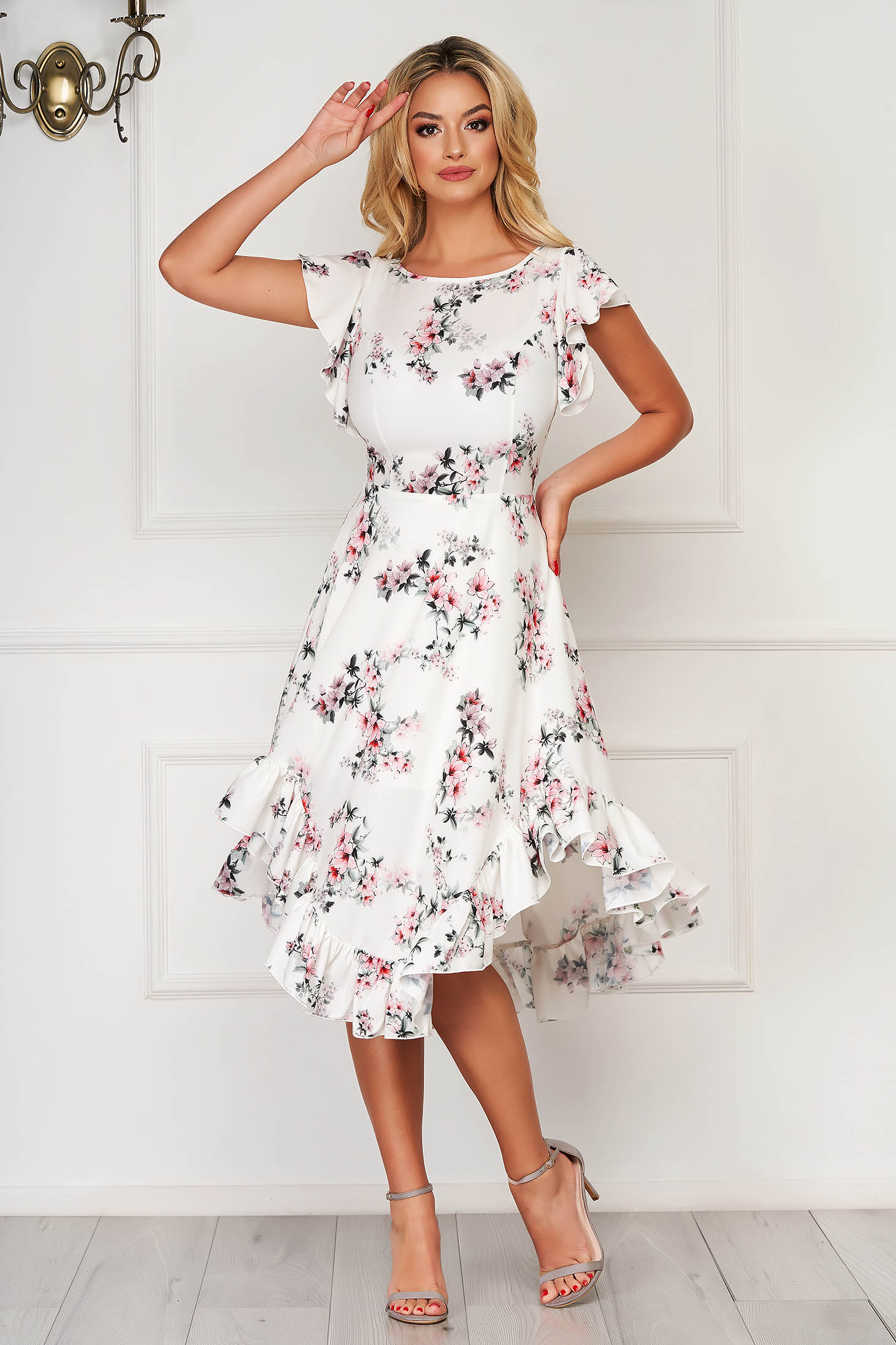 Rochie StarShinerS floral eleganta midi in clos din material moale cu volanase
