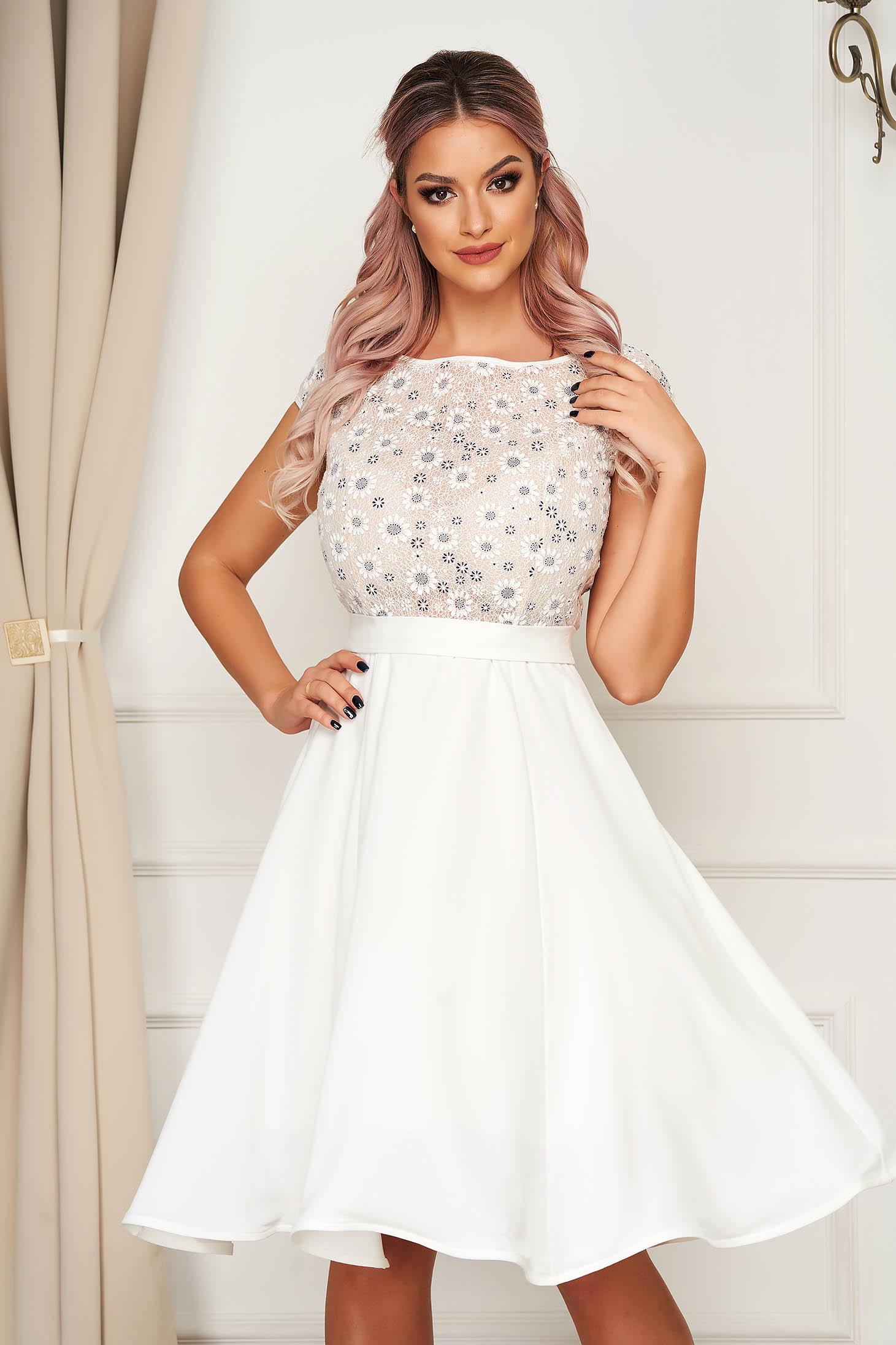 StarShinerS white dress midi occasional cloche fluid material guipure