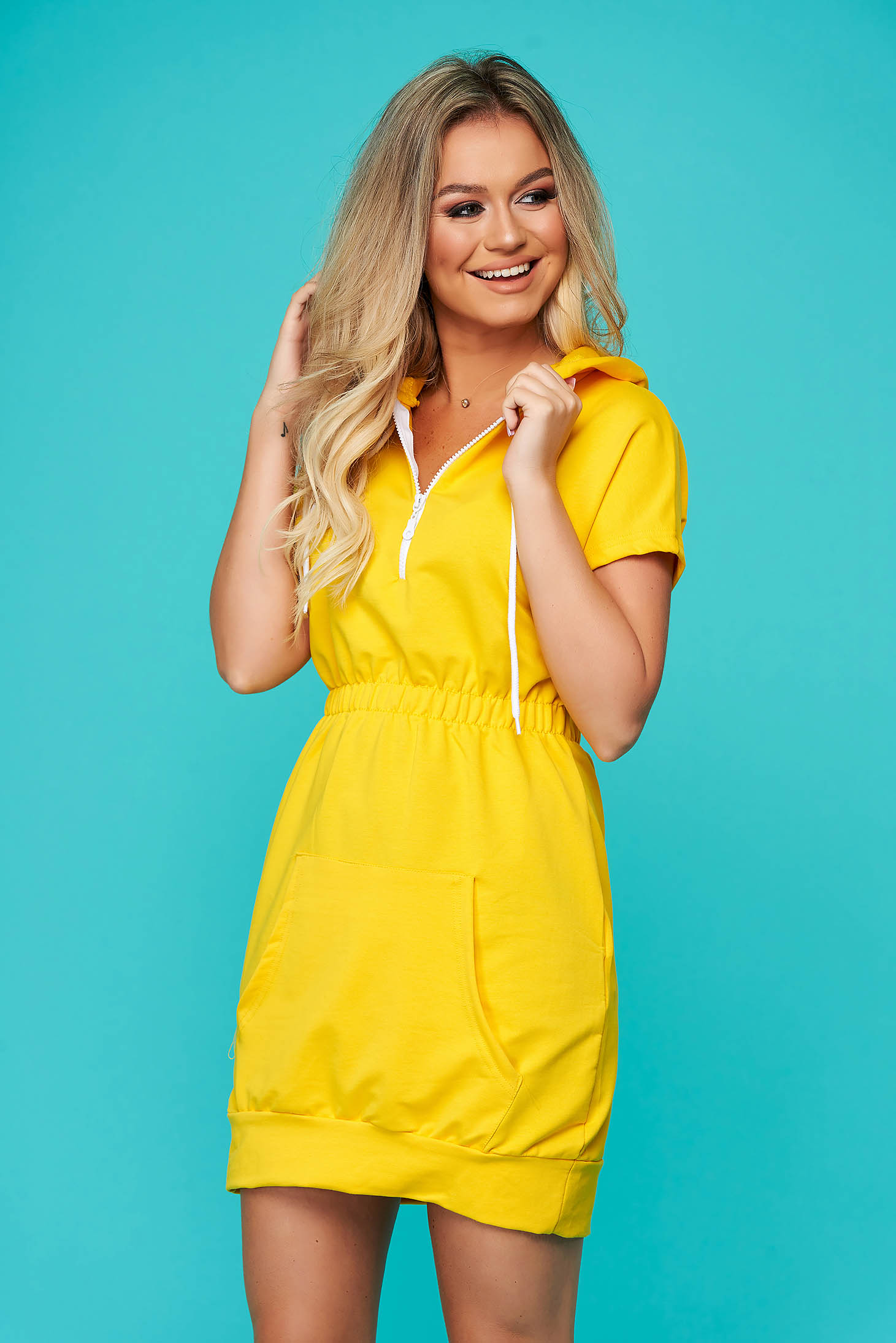 Yellow dress casual short sleeve with elastic waist slightly elastic cotton
