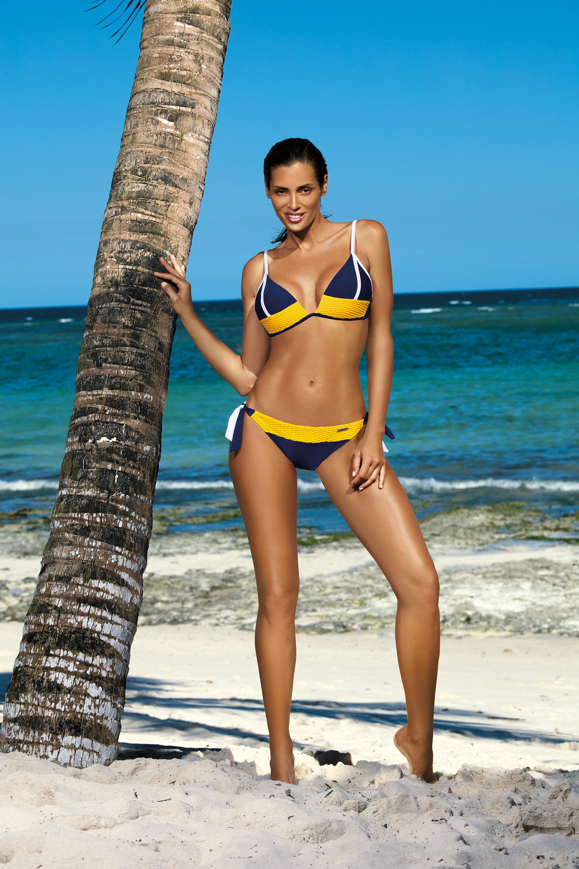 Darkblue swimsuit from two pieces with classic bottoms triangle bra