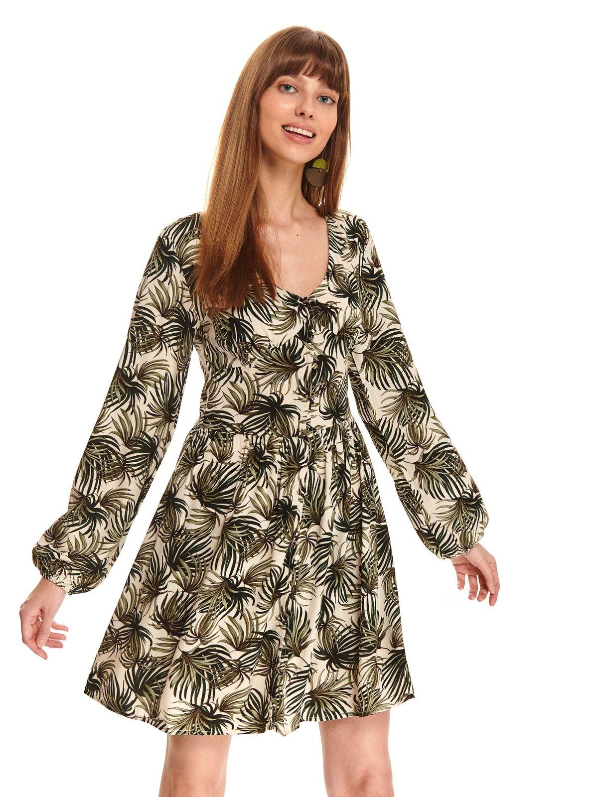 Zöld casual rövid bő szabású ruha szellős anyagból