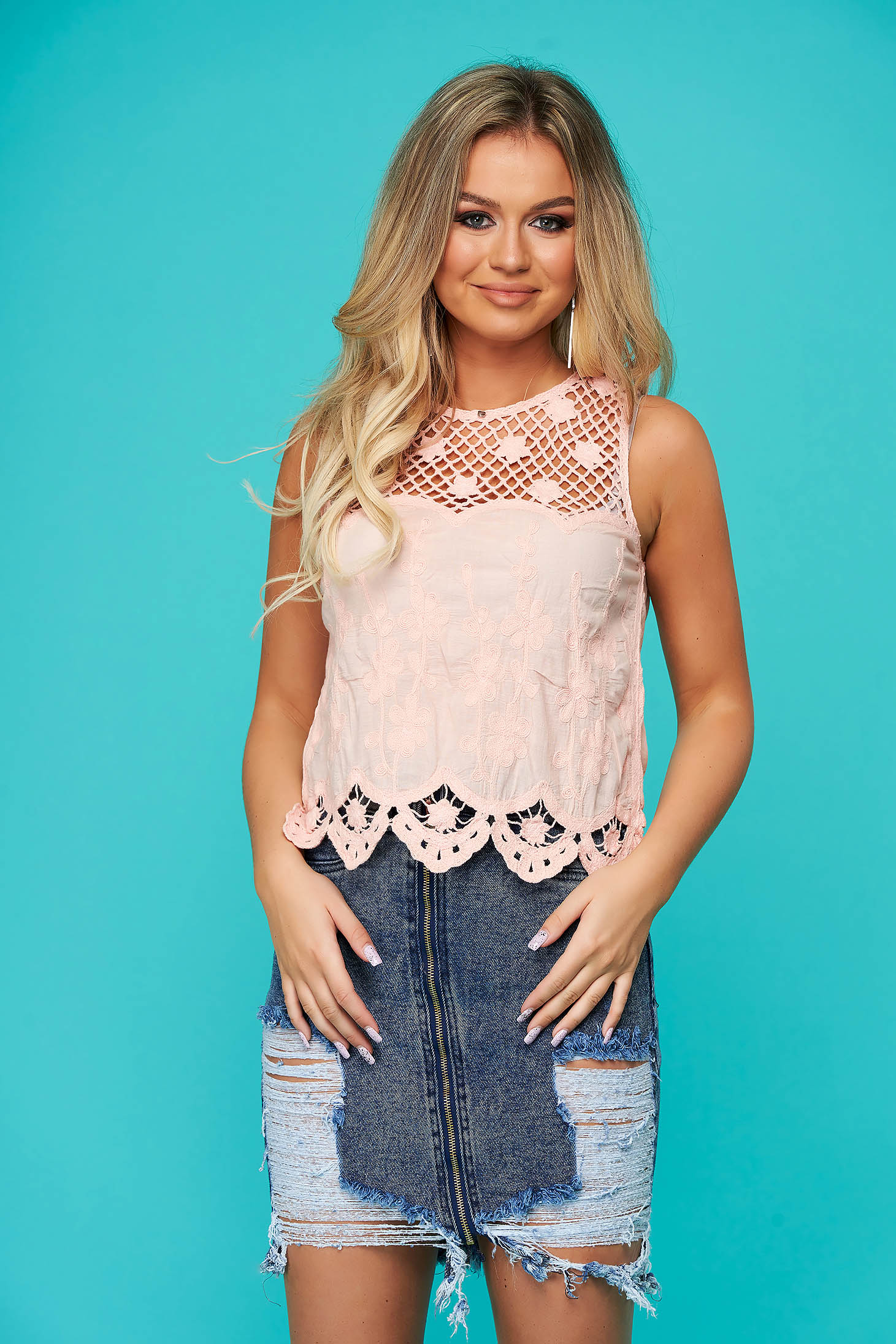 Pink top shirt casual short cut flared nonelastic cotton