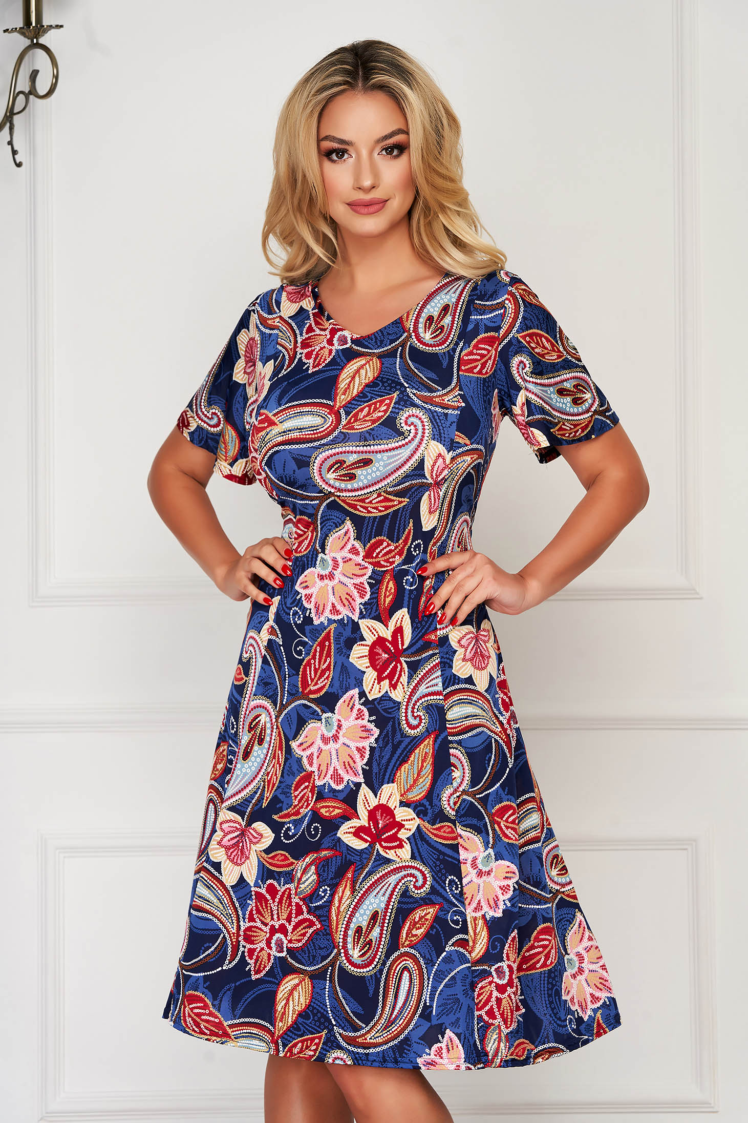 StarShinerS darkblue dress daily midi with v-neckline cloche from elastic fabric with floral print