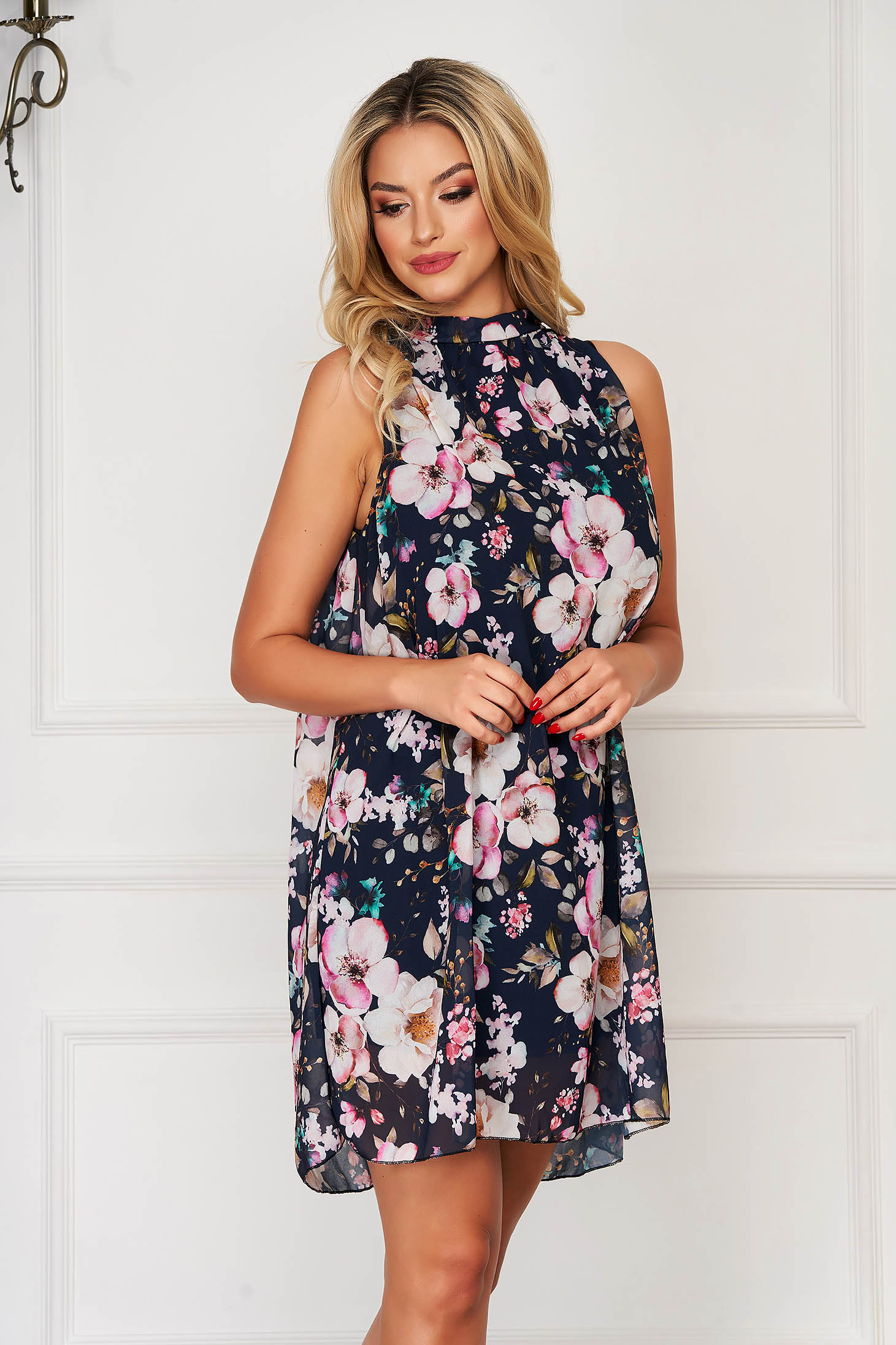 Darkblue dress elegant daily flared from veil fabric with floral print