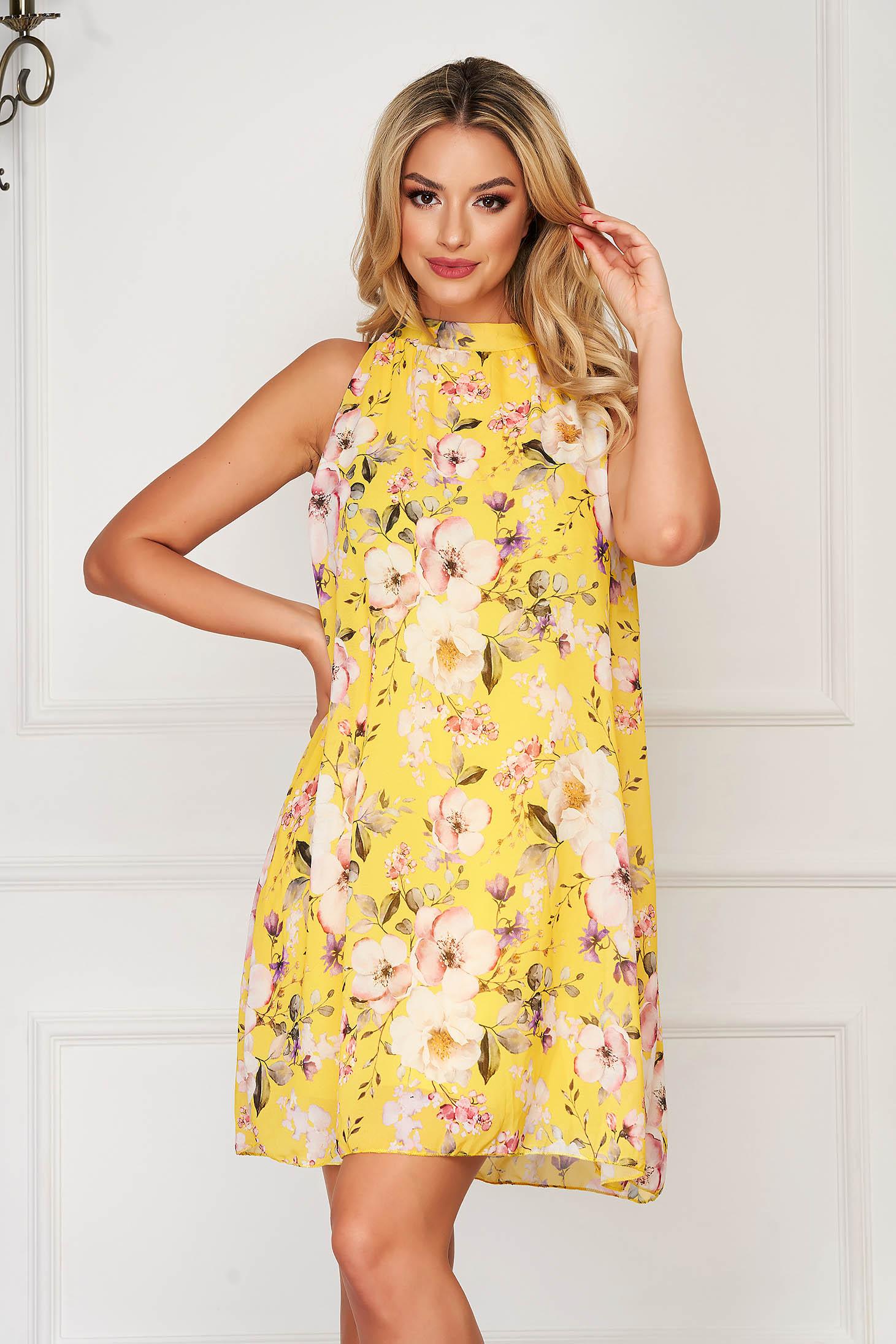 Rochie SunShine galbena eleganta de zi cu croi larg din voal cu imprimeu floral