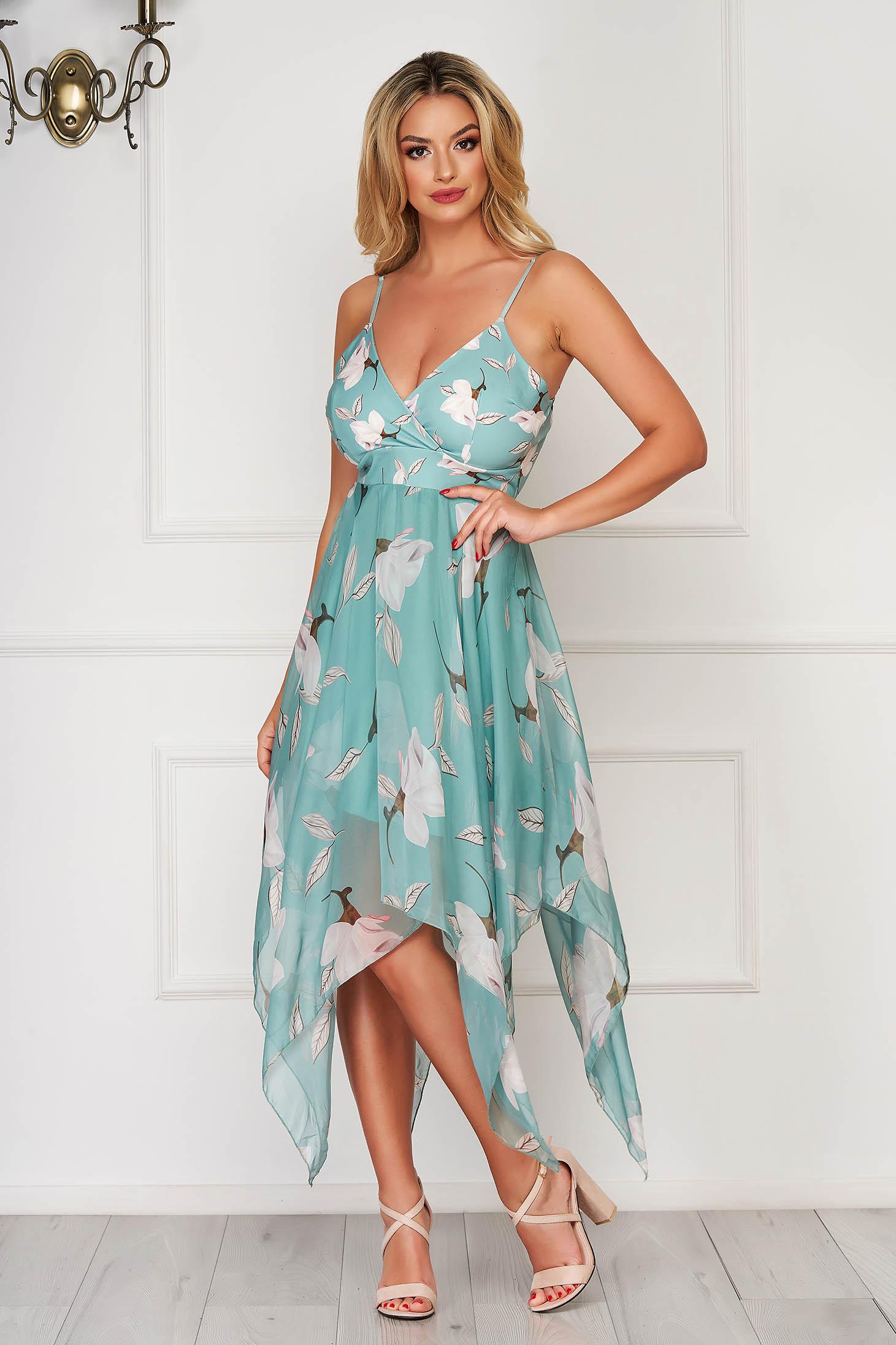 Rochie mint eleganta asimetrica in clos cu bretele ajustabile din voal cu imprimeu floral