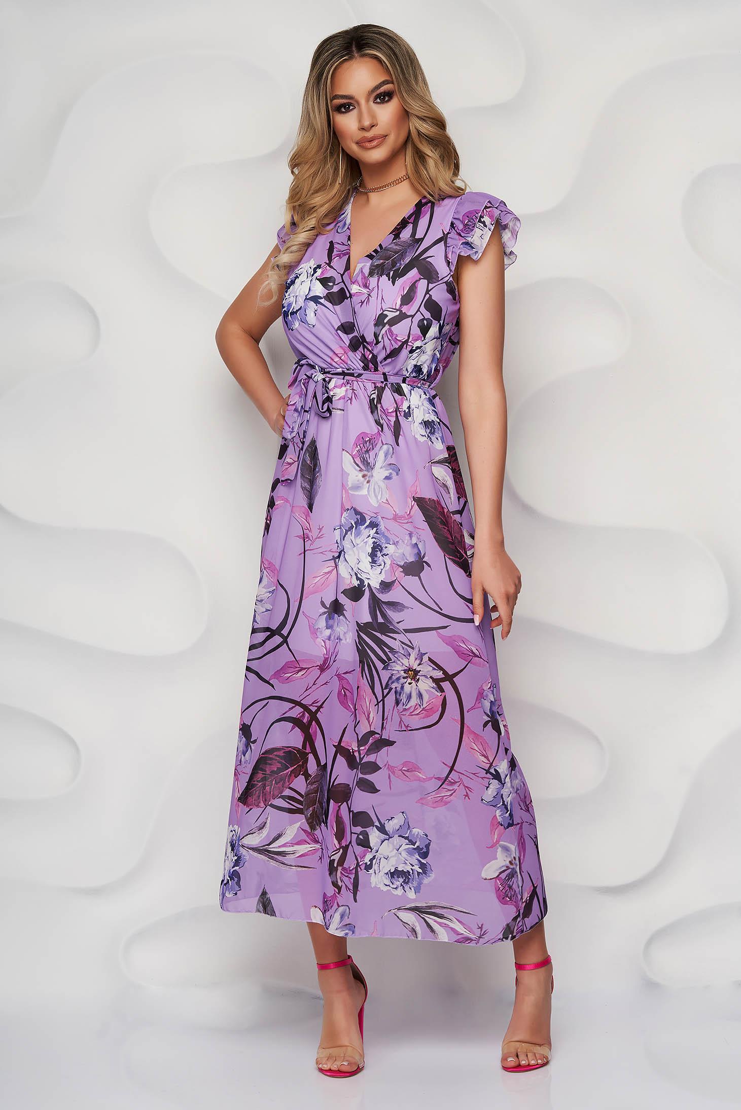 Rochie StarShinerS lila de zi lunga din voal cu imprimeu floral accesorizata cu cordon cu volanase la maneca