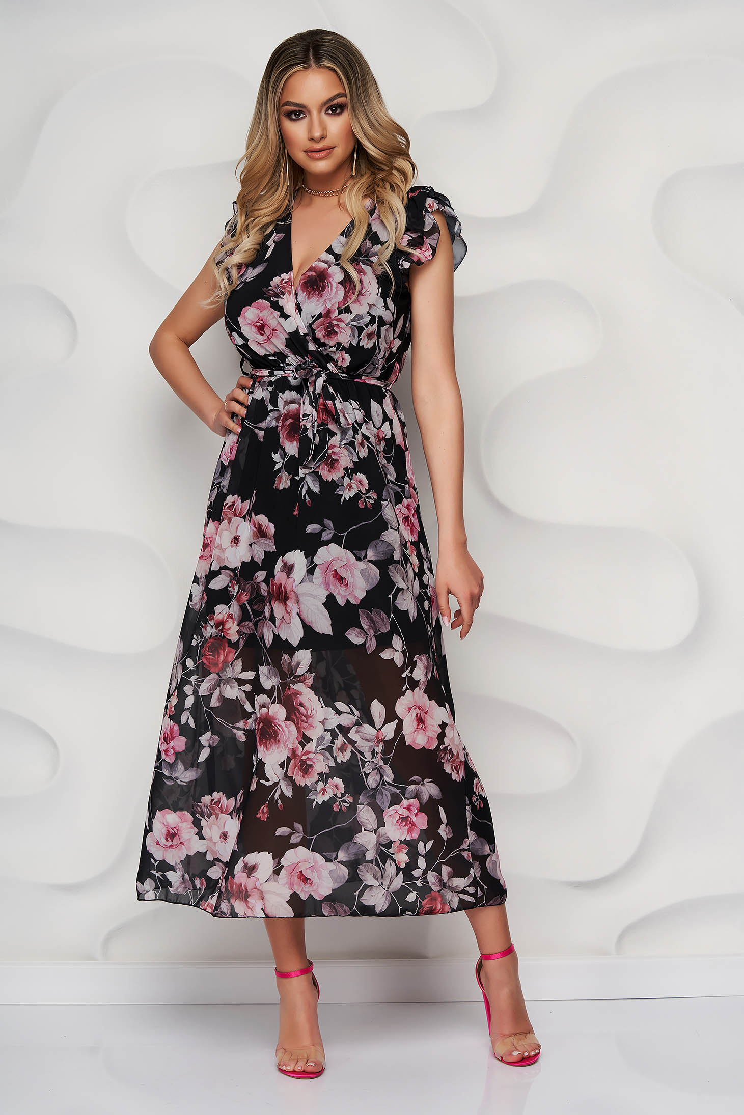 StarShinerS black dress daily long from veil fabric with floral print accessorized with tied waistband with ruffled sleeves