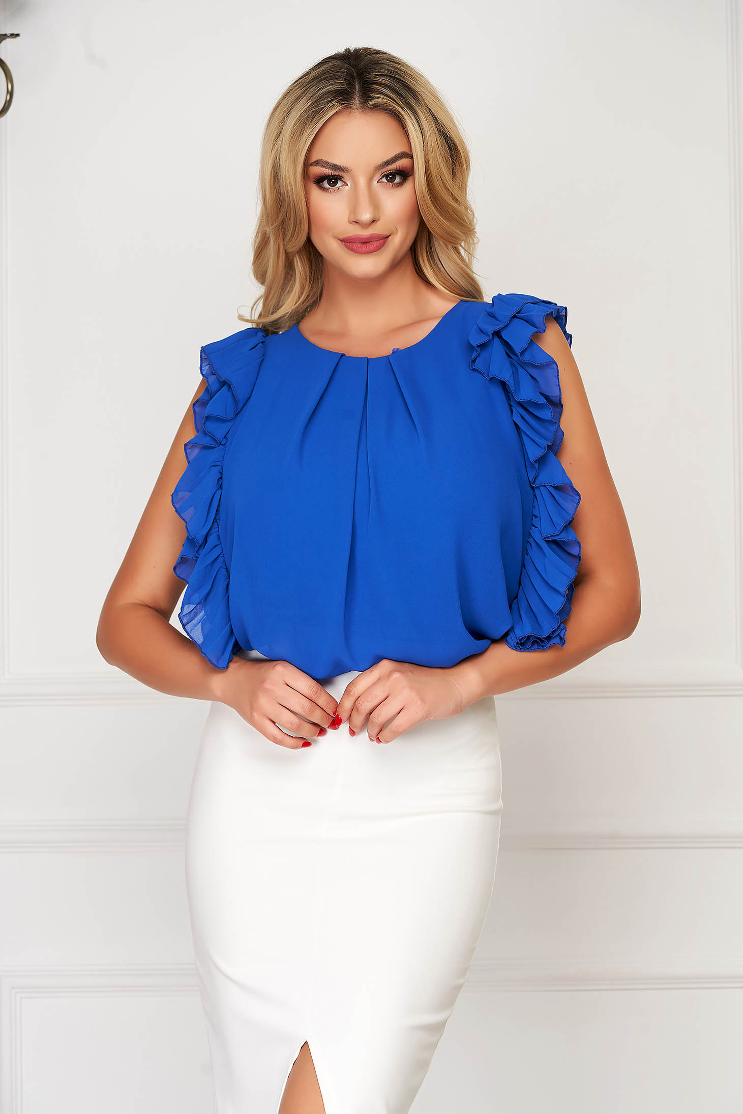 Bluza dama StarShinerS albastra eleganta cu croi larg din voal cu volanase la maneca