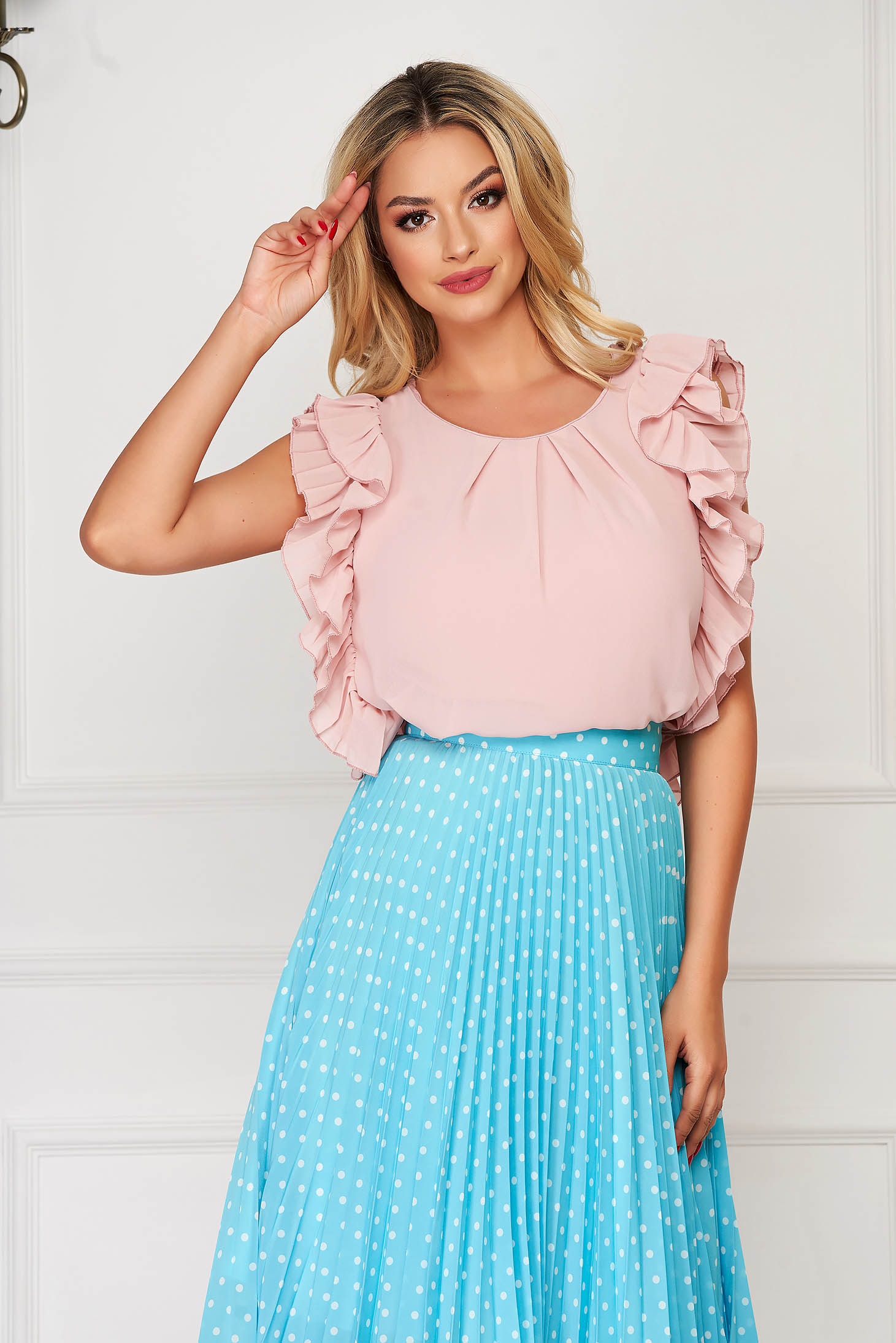 StarShinerS lightpink women`s blouse elegant flared voile fabric with ruffled sleeves