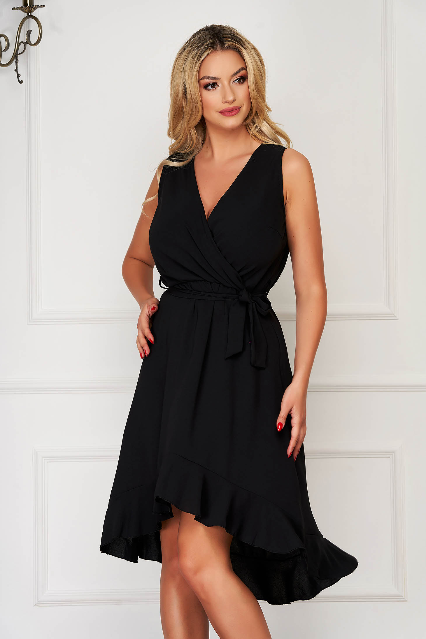 Black dress elegant daily with elastic waist accessorized with tied waistband with v-neckline