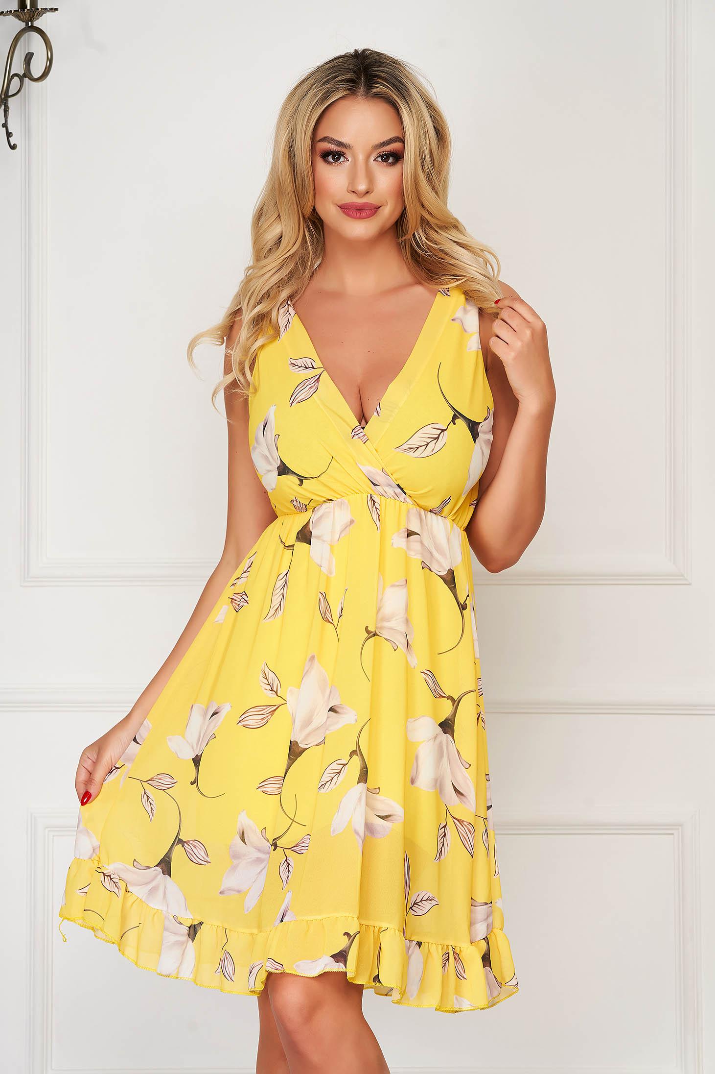 StarShinerS yellow dress daily midi from veil fabric cloche with elastic waist
