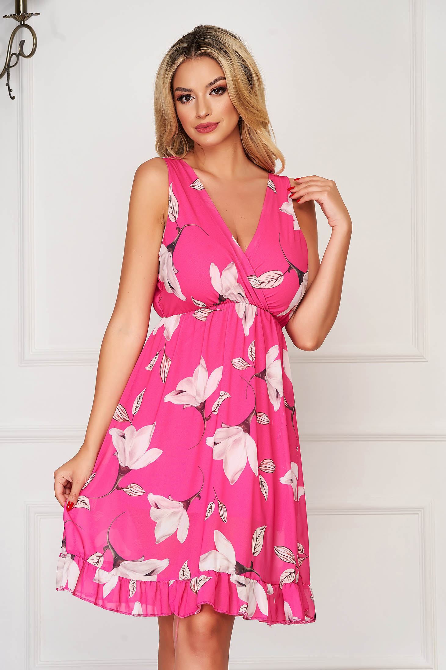 Pink StarShinerS hétköznapi midi ruha v-dekoltázzsal gumírozott derekú muszlinból virágmintás díszítéssel