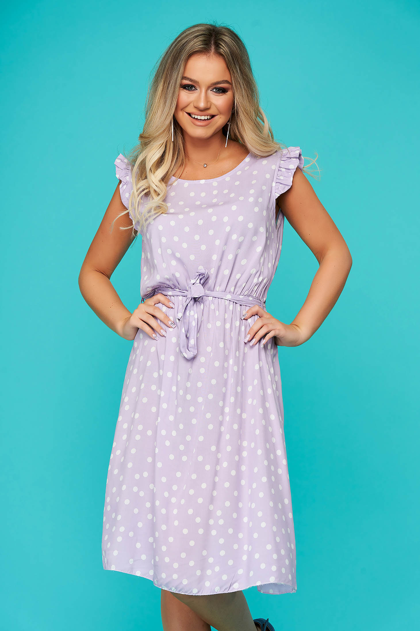 Dress lila daily sleeveless with elastic waist accessorized with tied waistband thin fabric dots print