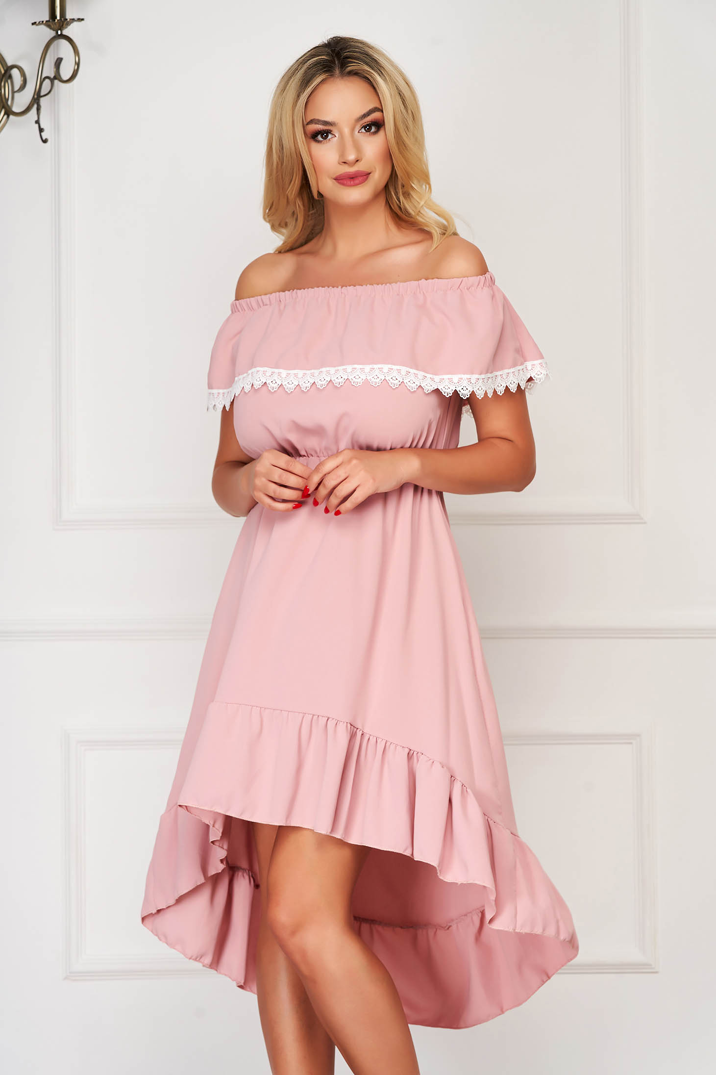 Lightpink dress asymmetrical daily off-shoulder with ruffles on the chest