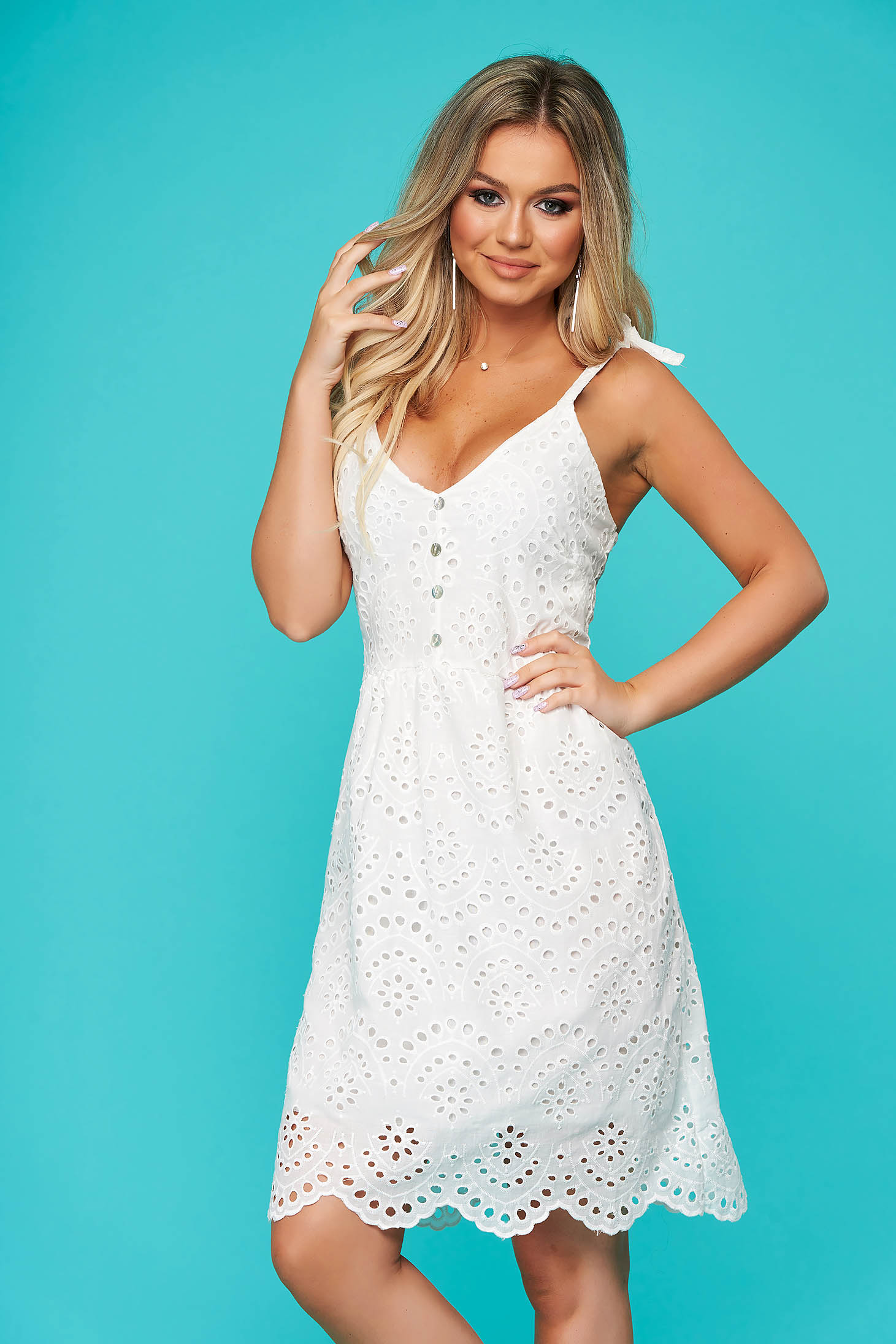 White dress short cut daily guipure straight with braces
