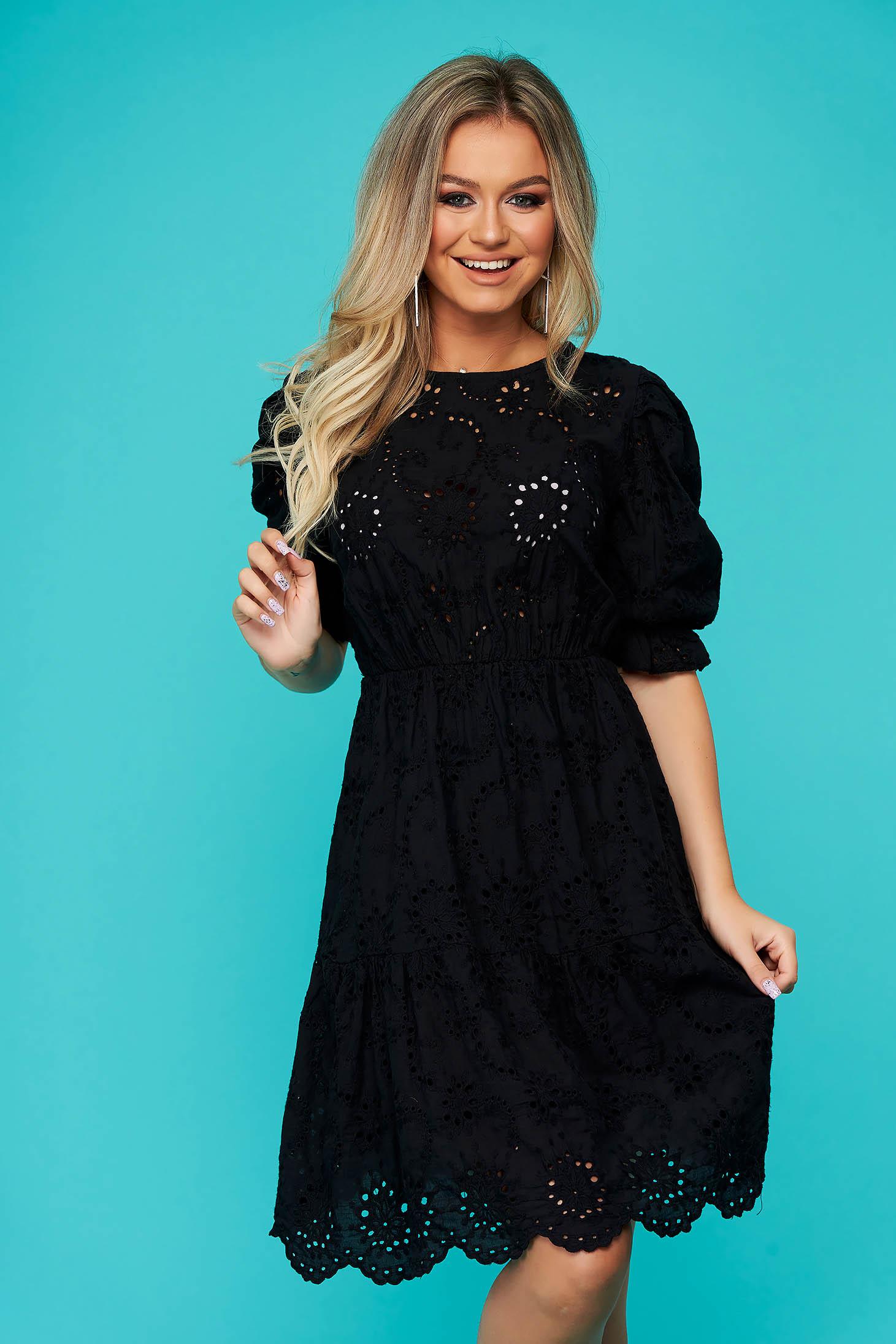 Rochie SunShine neagra de zi scurta cu elastic in talie din bumbac
