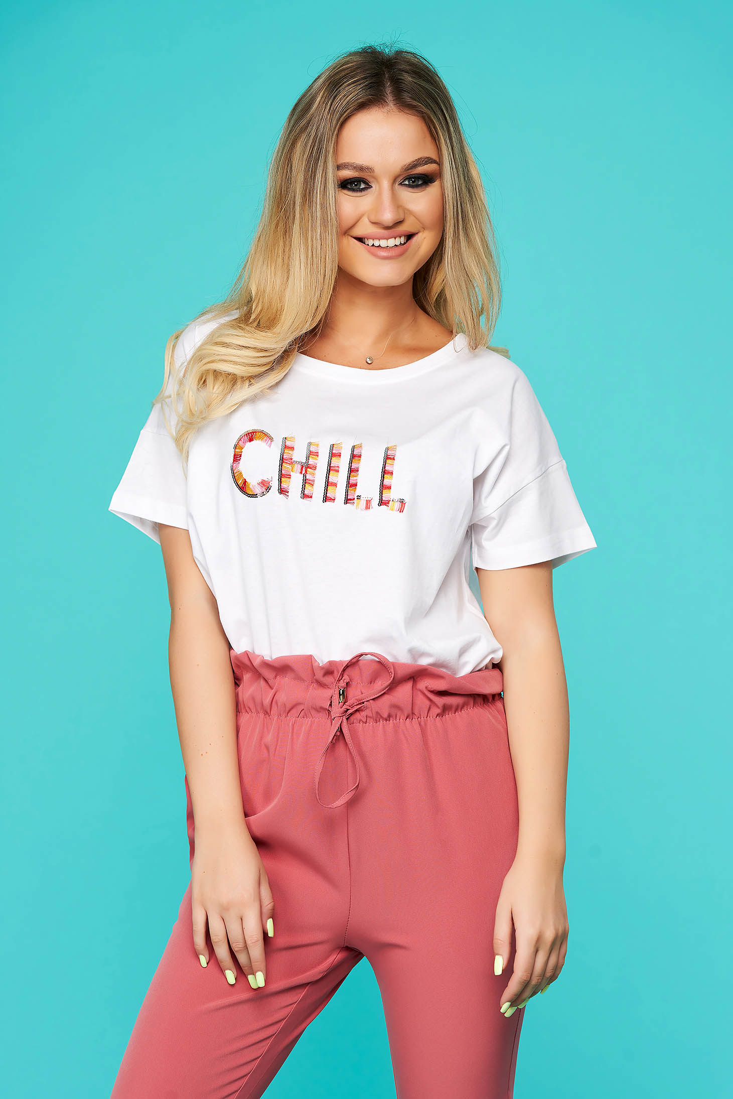 White t-shirt casual cotton with easy cut