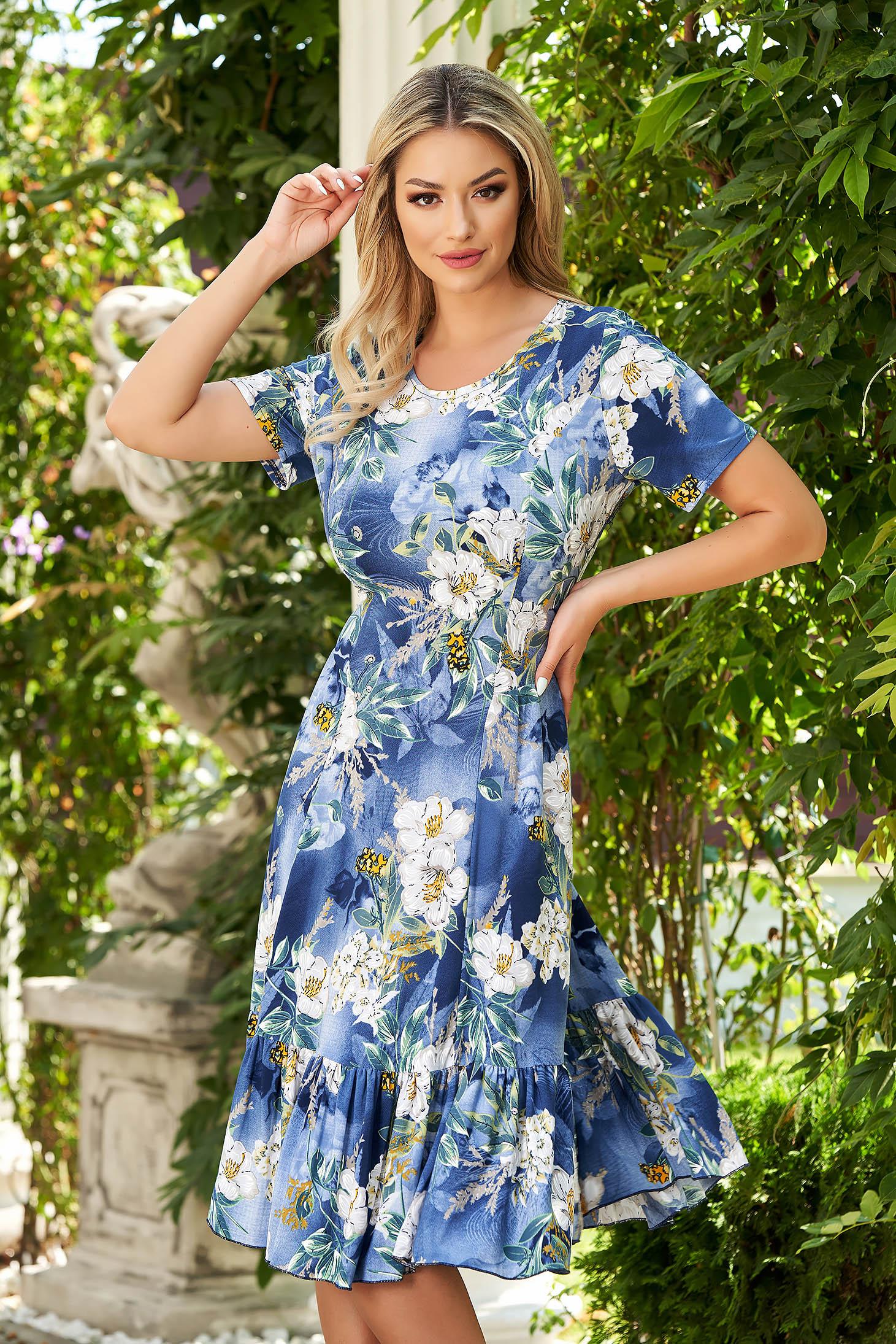 Kék StarShinerS midi hétköznapi harang ruha lycra anyag rövid ujjakkal