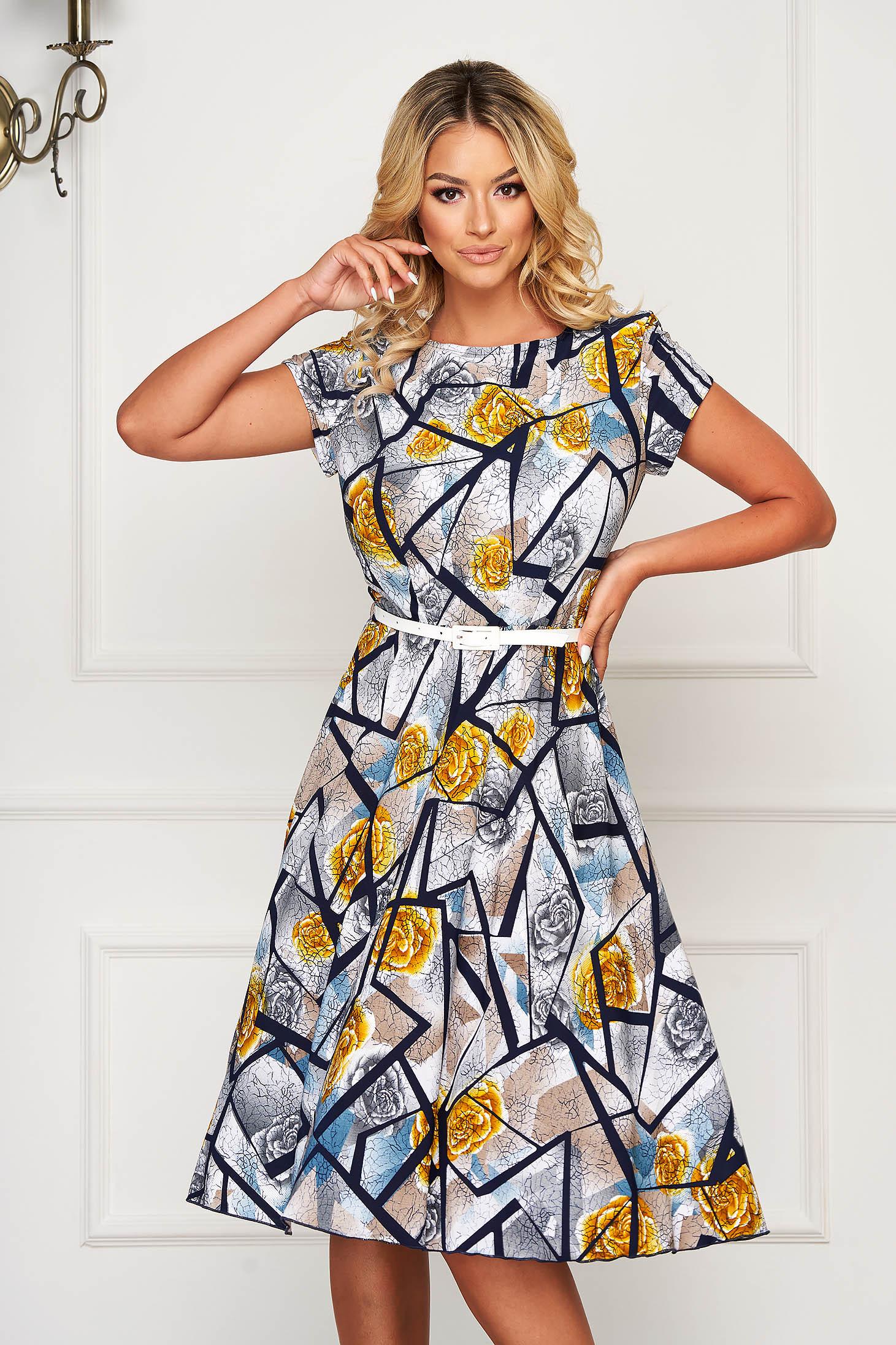 StarShinerS darkblue dress midi daily cloche short sleeves