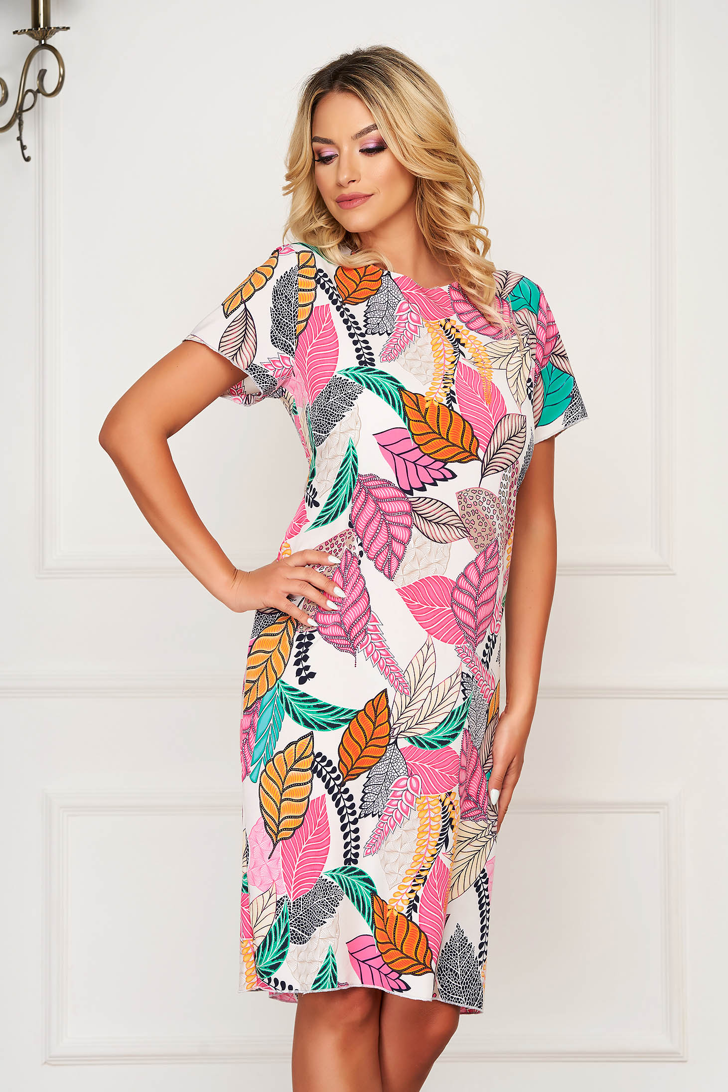 StarShinerS pink dress short cut daily short sleeves with floral print