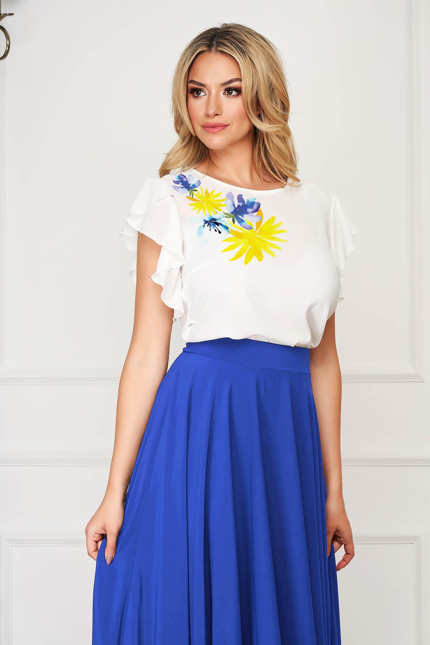 Bluza dama StarShinerS galbena eleganta din voal cu imprimeu unic customizat