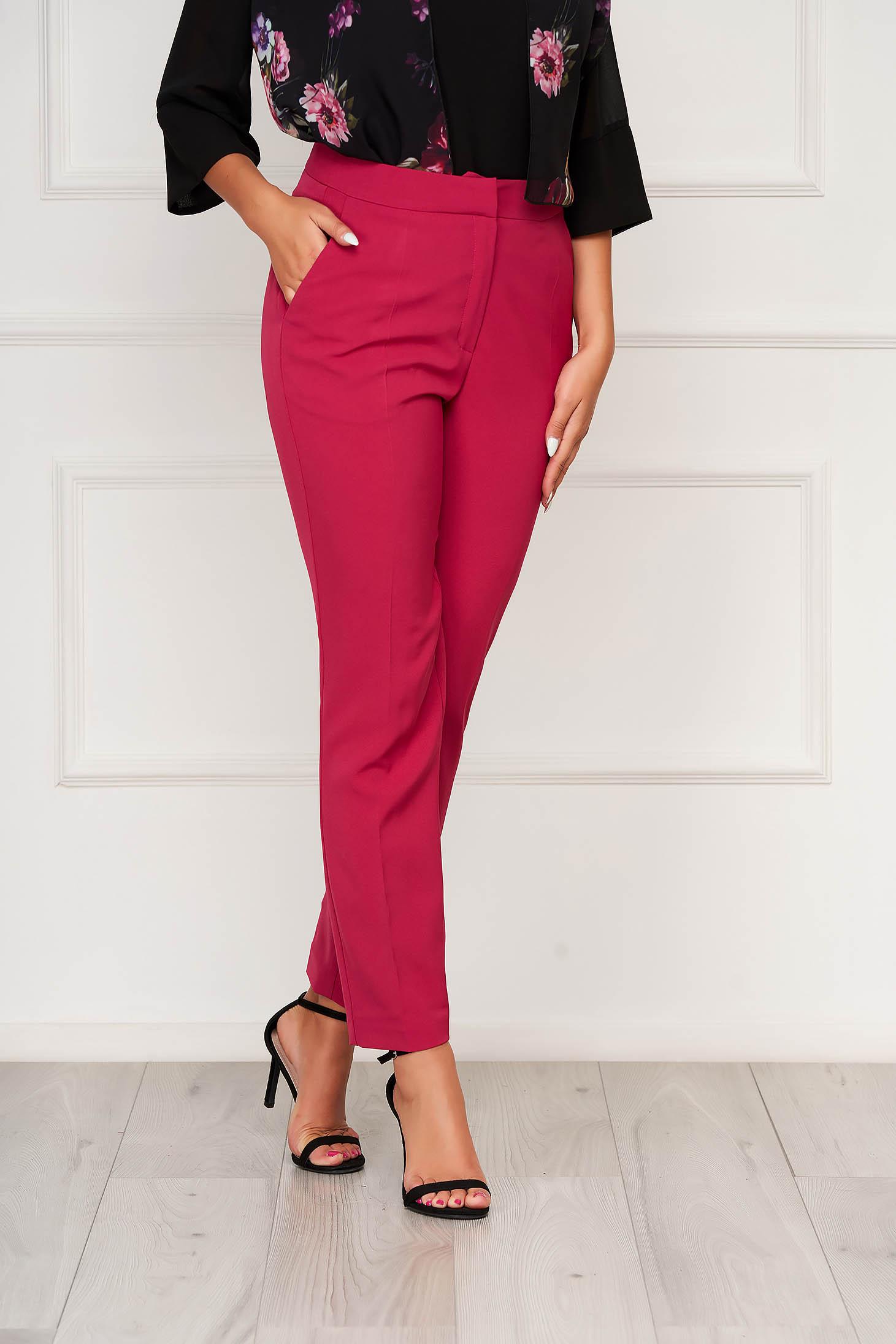 Pantaloni Top Secret roz office conici cu buzunare