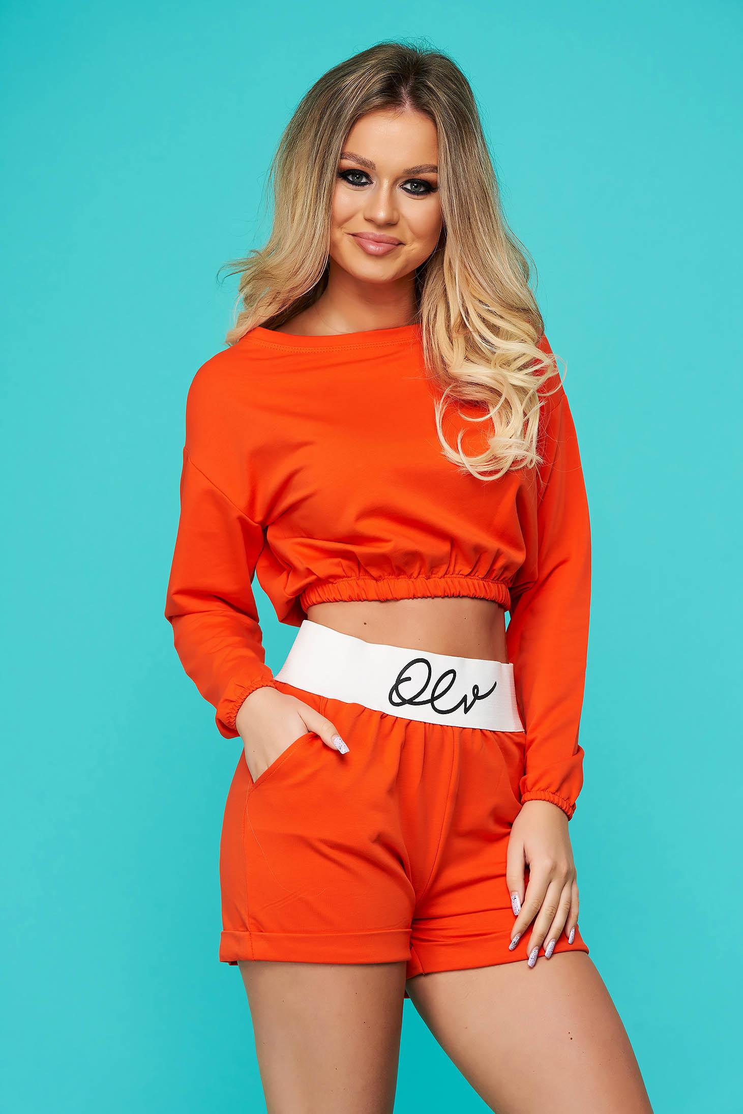 Orange lady set sporty 2 pieces women`s shorts cotton