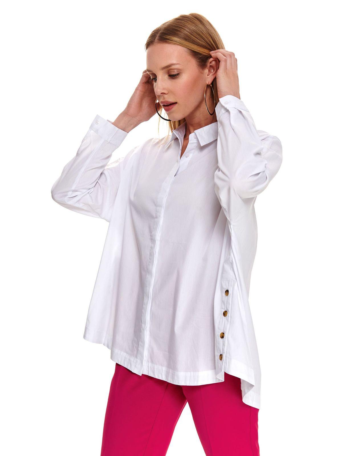 Camasa dama Top Secret alba casual cu croi larg asimetrica din bumbac usor elastic