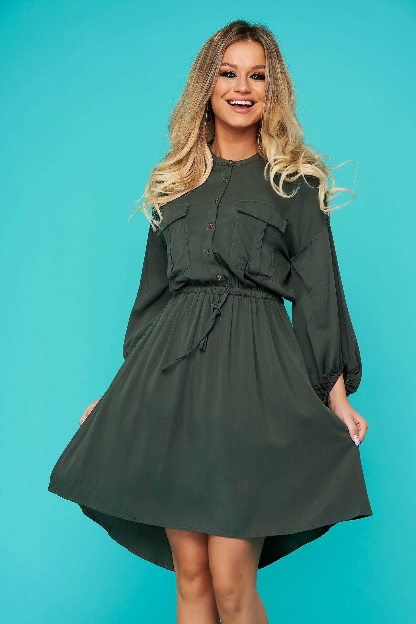Green dress short cut daily cloche long sleeved with front pockets