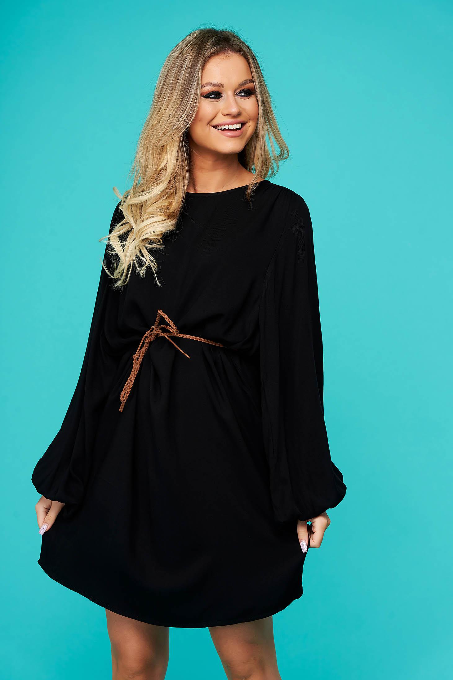 Black dress short cut daily flared long sleeved